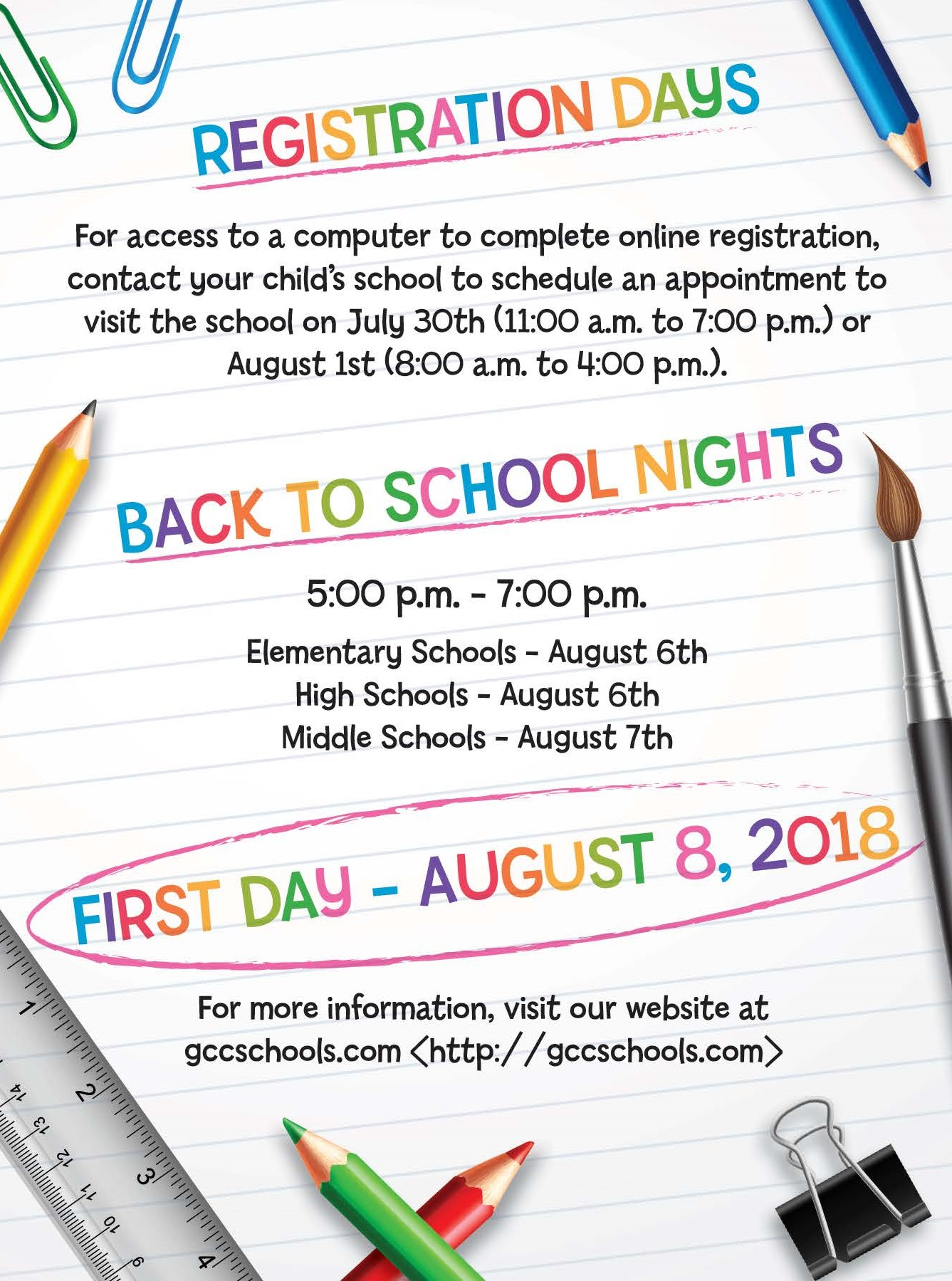 Back To School Information 2018 2019 – Greater Clark County Throughout Monroe Clark Middle School Calendar