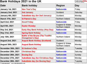 Bank Holidays 2021 In The Uk, With Printable Templates Throughout Canton Trade Days 2021 Calendar
