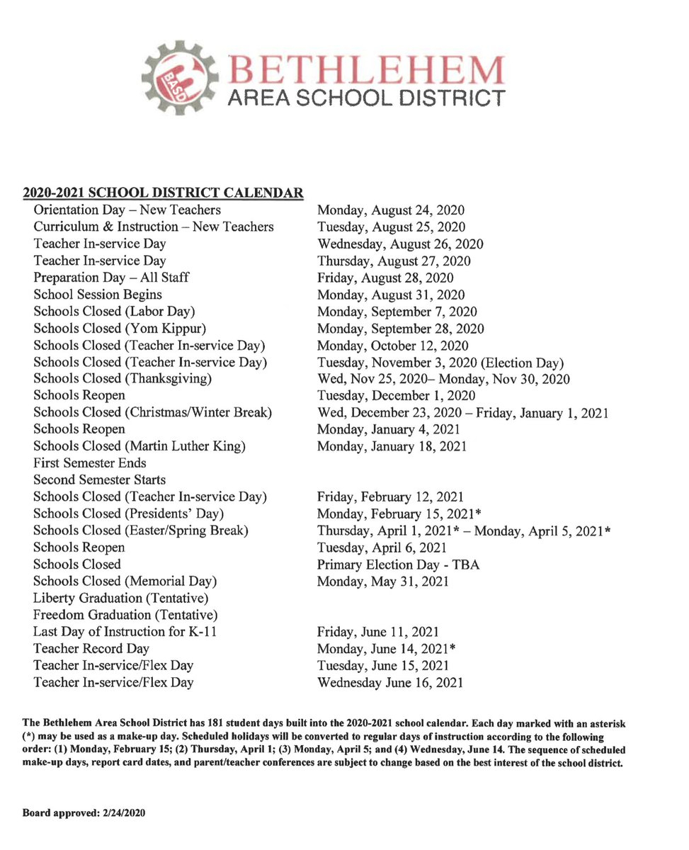 "Basd On Twitter: ""the Basd School Board Approved The 2020 inside Bethlehem Area School District Calendar 2021"
