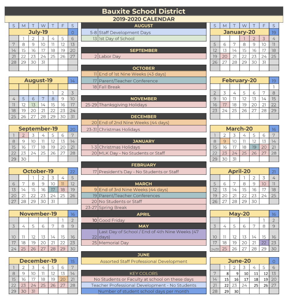 Bauxite Public Schools Throughout Pine Bluff School District Calendar