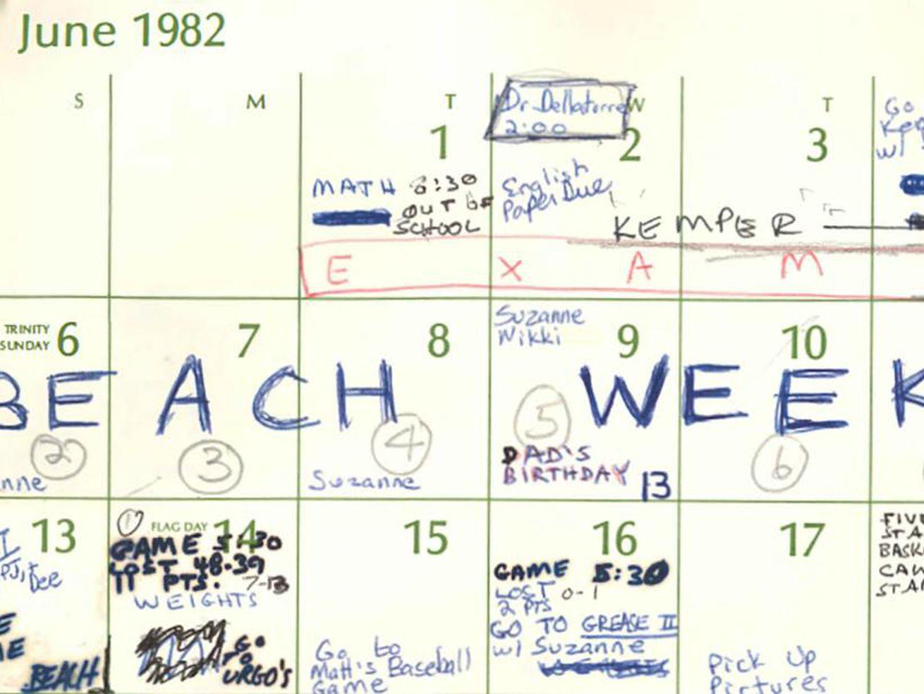 Beach Week, Brett Kavanaugh's All Caps Calendar Entry Within Comedy Club Virginia Beach Calendar