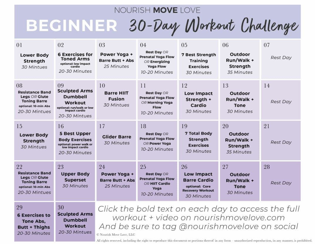 Beginner Workout Plan + 30 Day Workout Calendar (With Images Throughout 30 Days Fitness Calendar