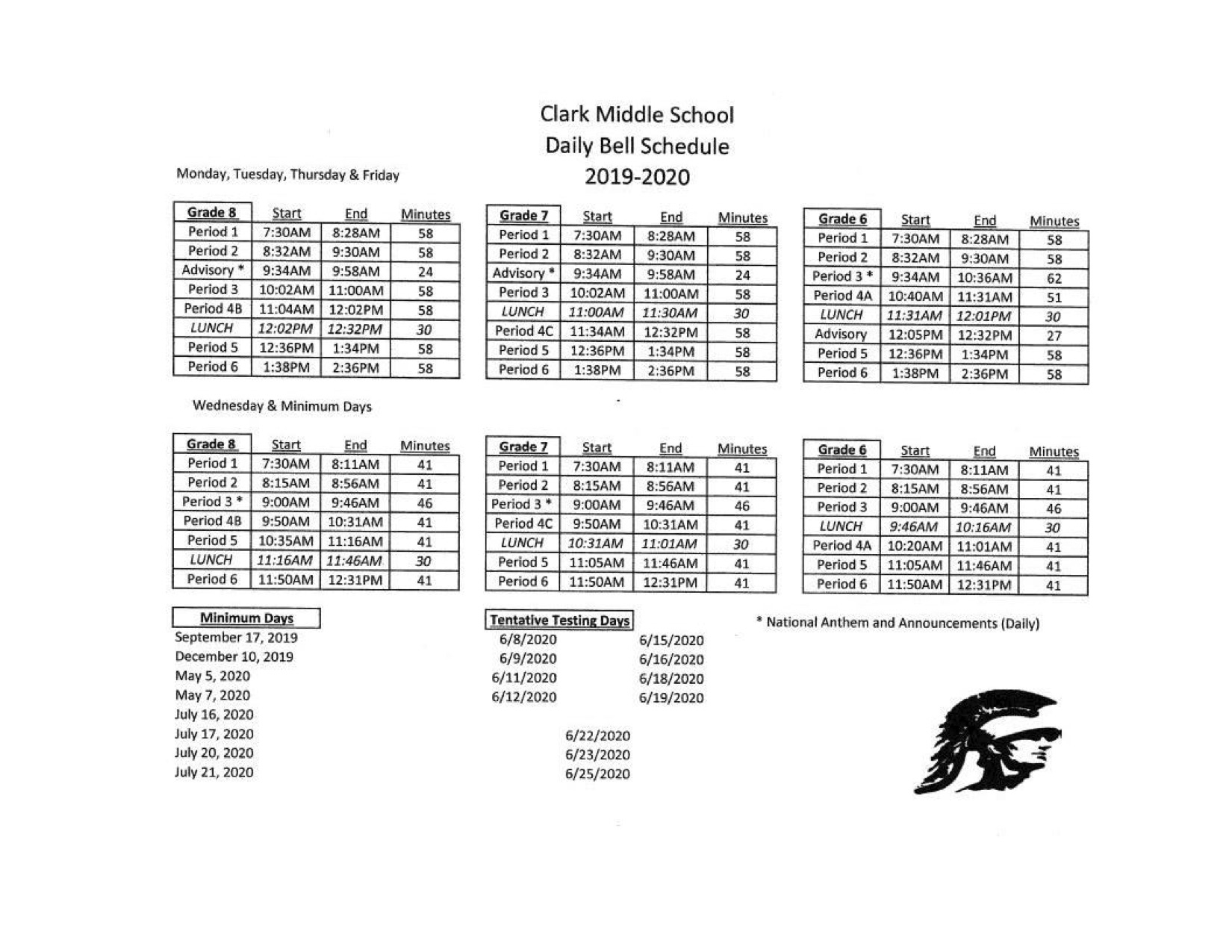 Bell Schedule 2018-19 | Clark pertaining to Monroe Clark Middle School Calendar