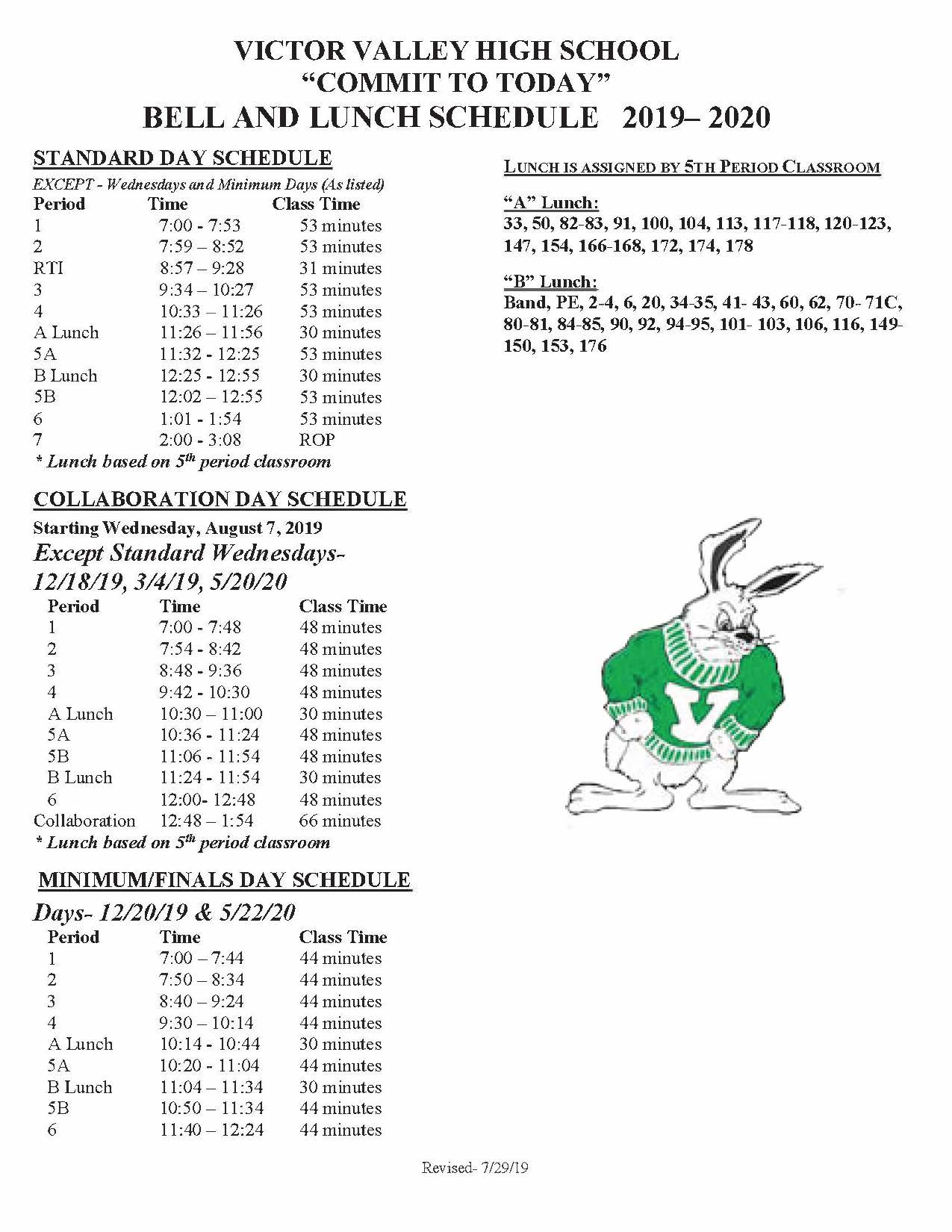 Bell Schedule 2019-2020 School Year - Victor Valley High School in Victorville School District Class Schedule