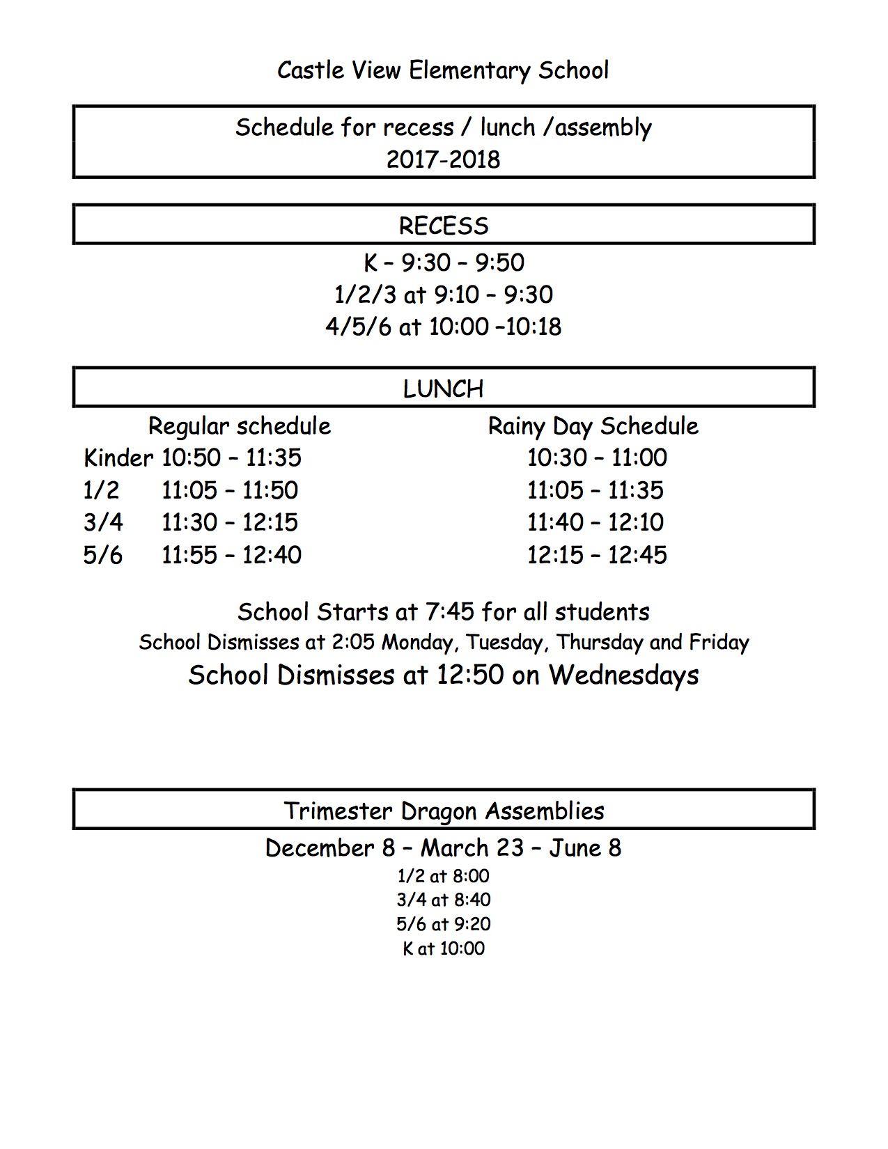 Bell Schedule – Castle View Elementary Regarding Victorville School District Class Schedule