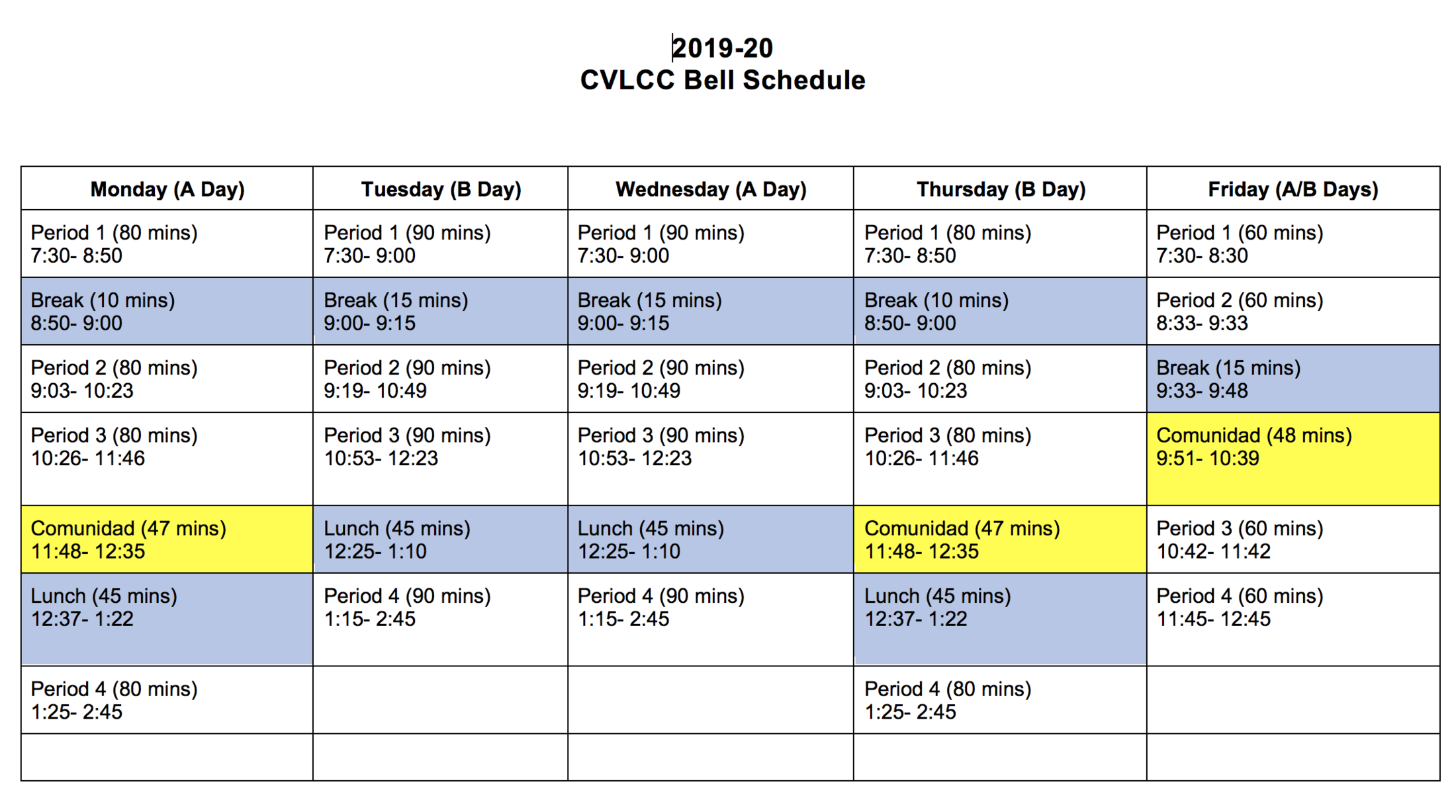 Bell Schedule – Clvcc High School – Chula Vista Learning In Calendar Otay Ranch High School
