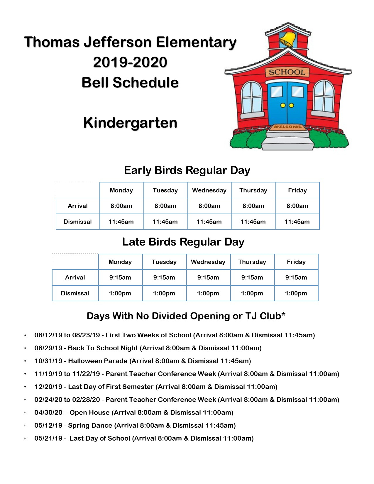 Bell Schedule / Kindergarten Bell Schedule For Bellflower Unified School District Schedule