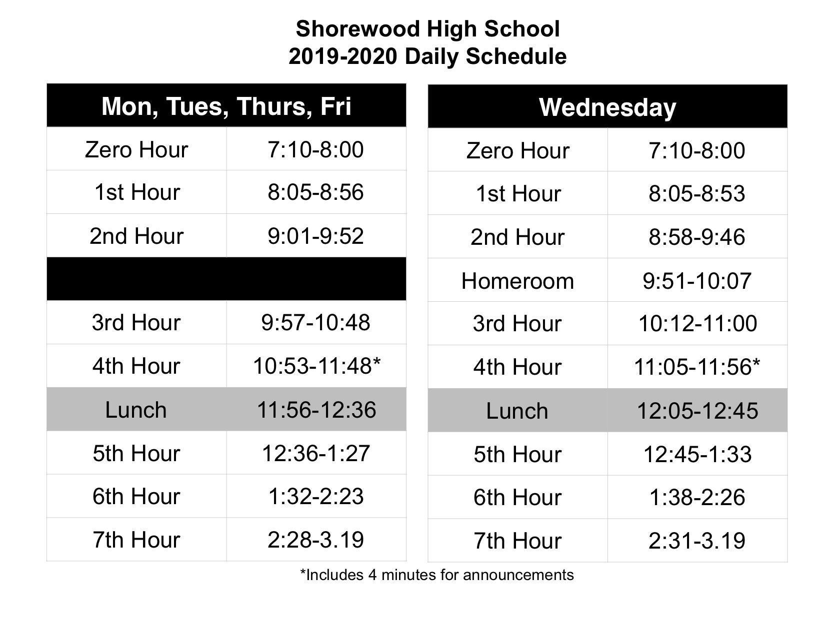 Bell Schedules – Shorewood High School – Shorewood School Regarding Schedule For Menlo Parkschool District
