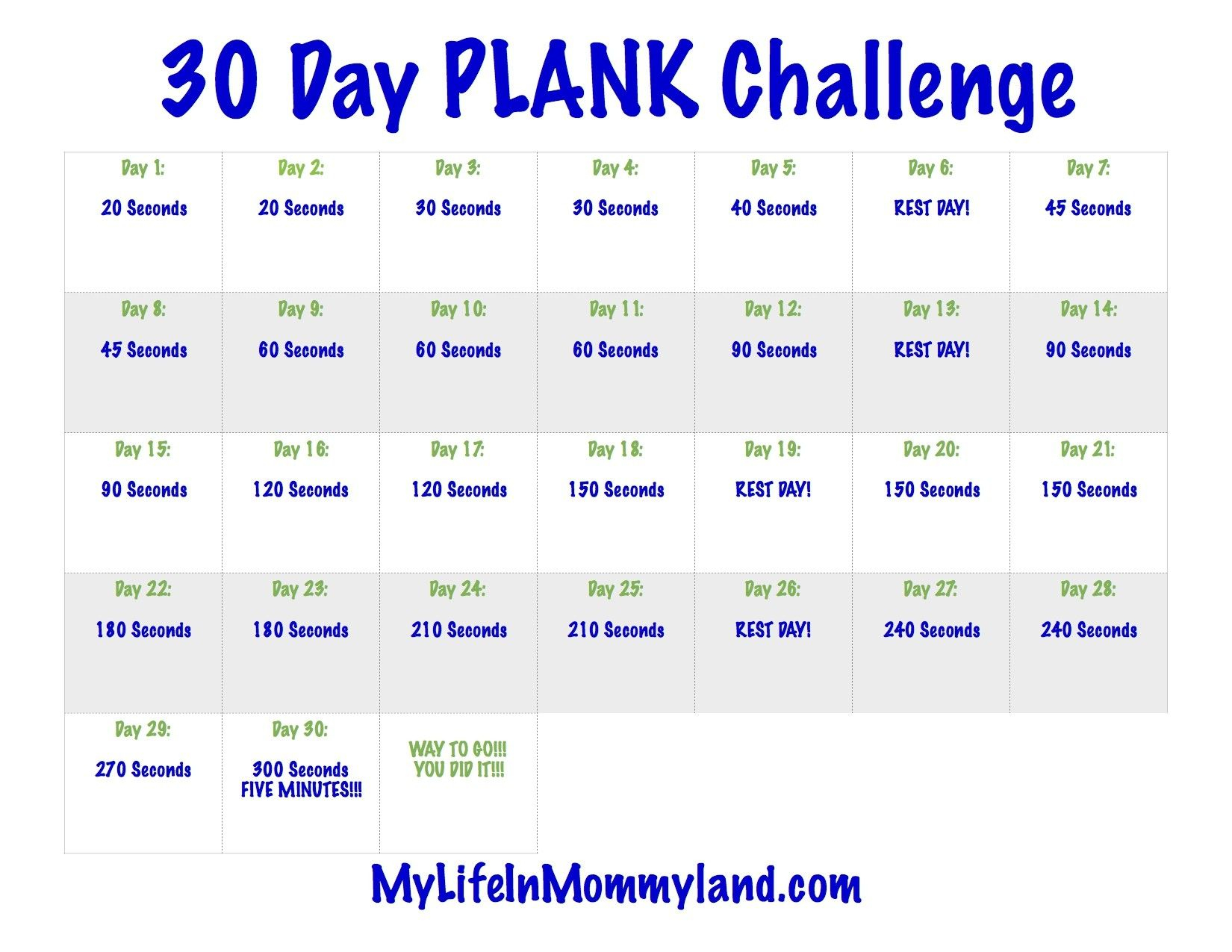 Best Of 30 Day Plank Challenge Calendar Printable (With Pertaining To 30 Day Challenge Calendar