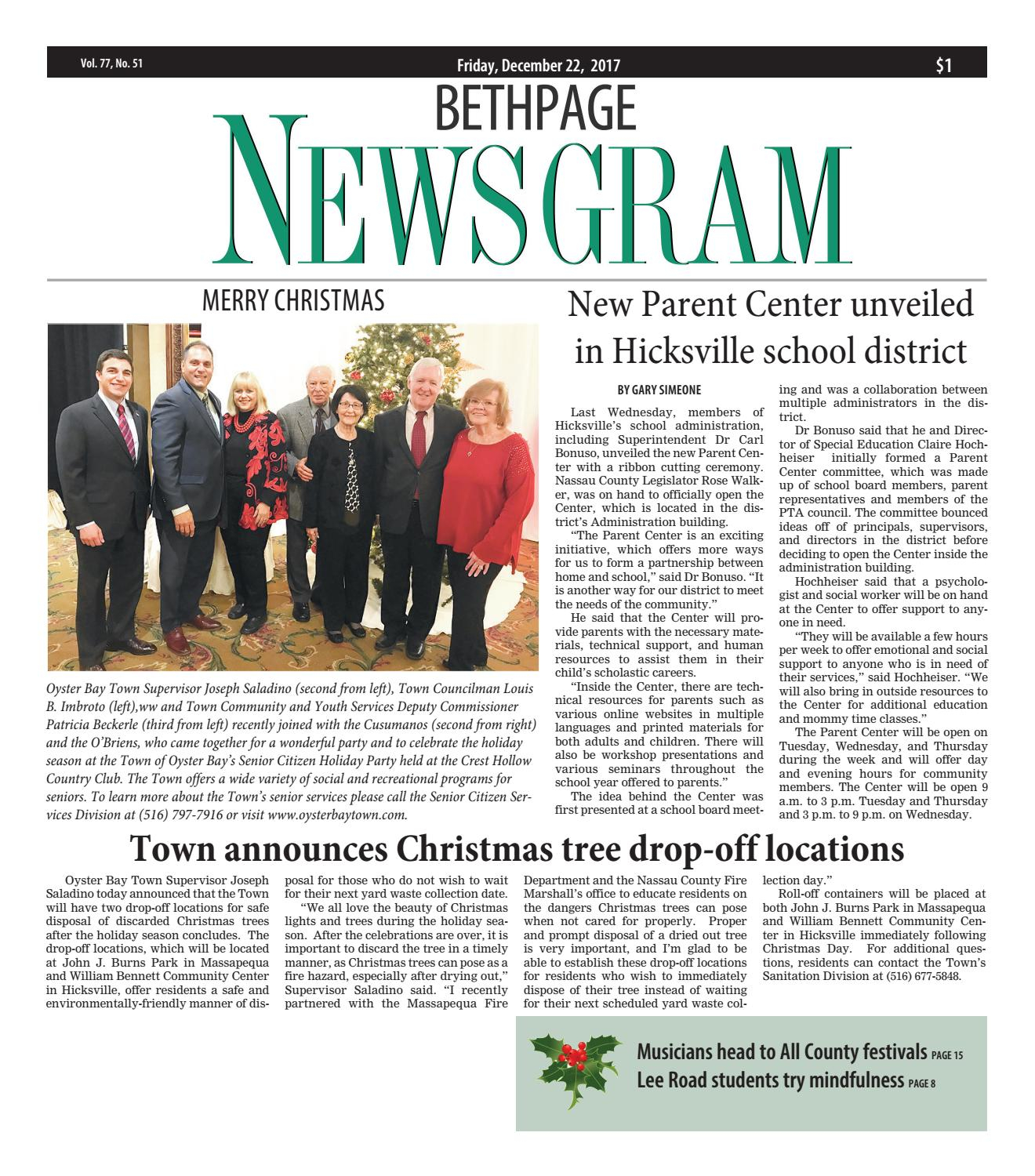 Bethpage Newsgram (12/22/17)Litmor Publishing – Issuu Inside Town Oyster Bay Sanitation Calendar