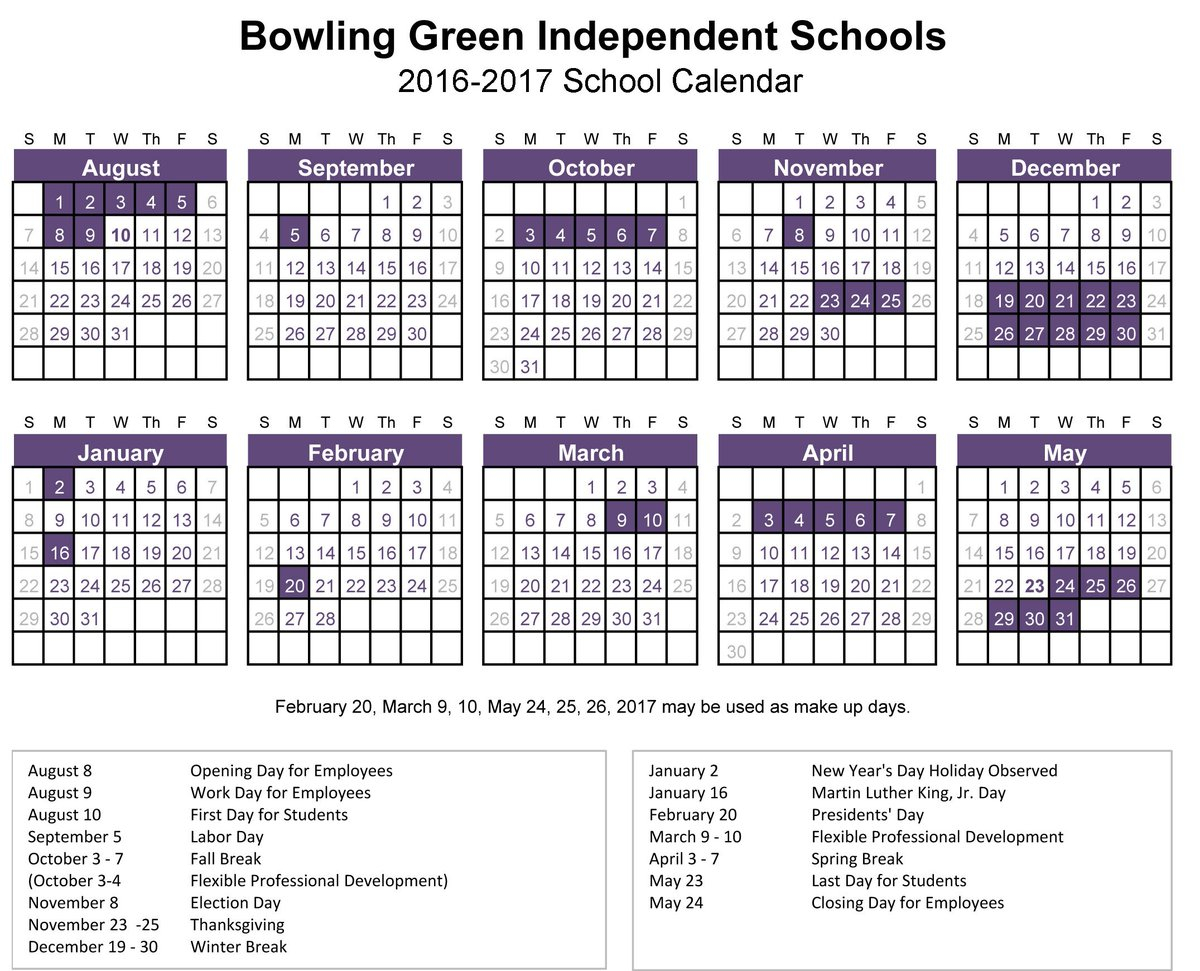 "Bg City Schools On Twitter: ""the 2016-17 School Calendar throughout Bowling Green City Schools Calendar"
