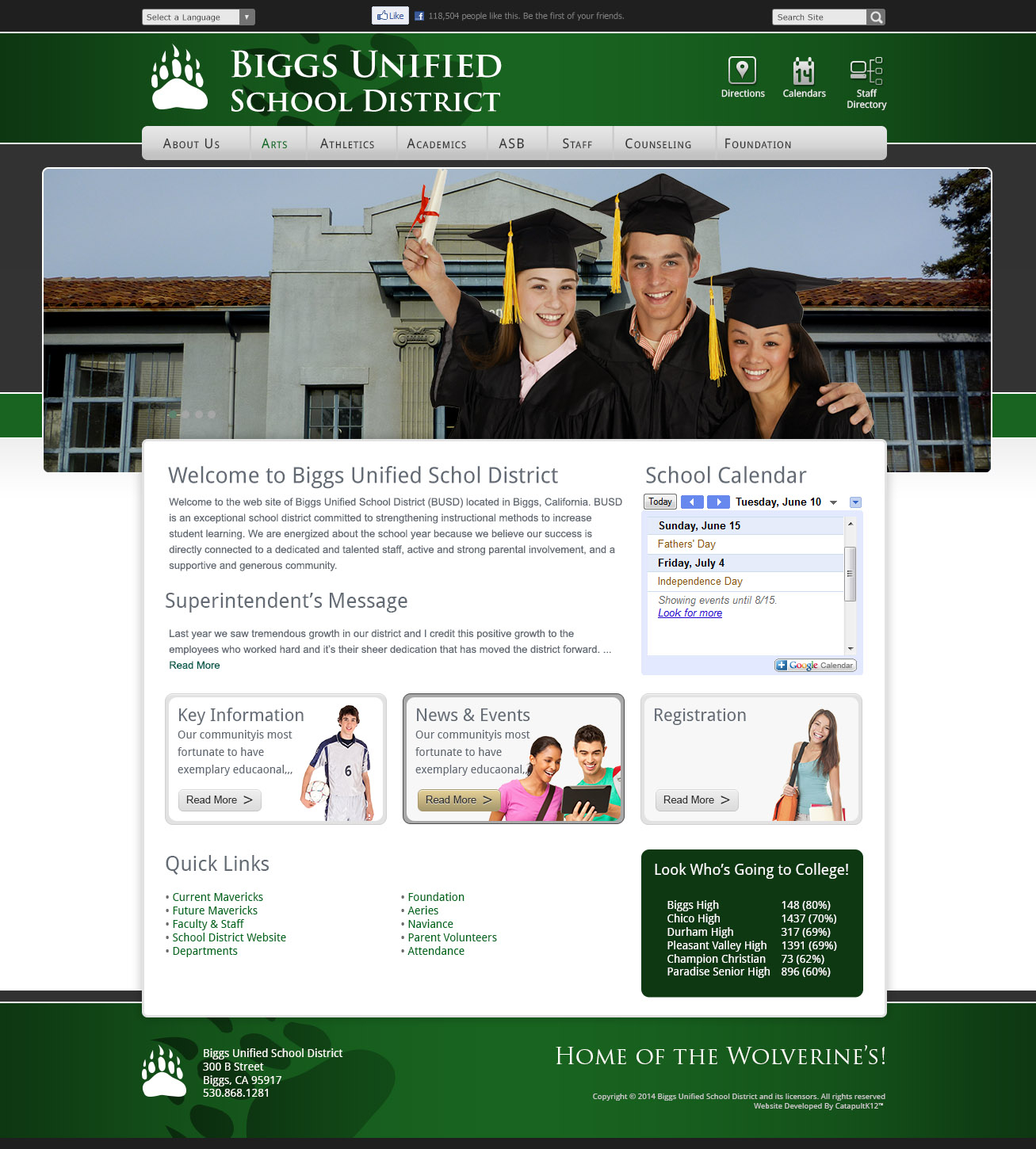Biggs Unified School District – Initial Design Within Plesant Valley School District In 2014 Calandar