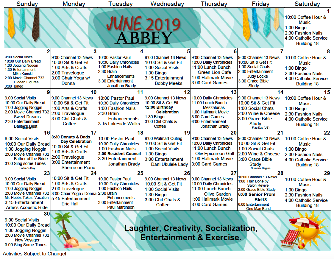Bishop's Glen Abbey Assisted Living Activity Calendar For Intended For Assisted Living Activity Calendar