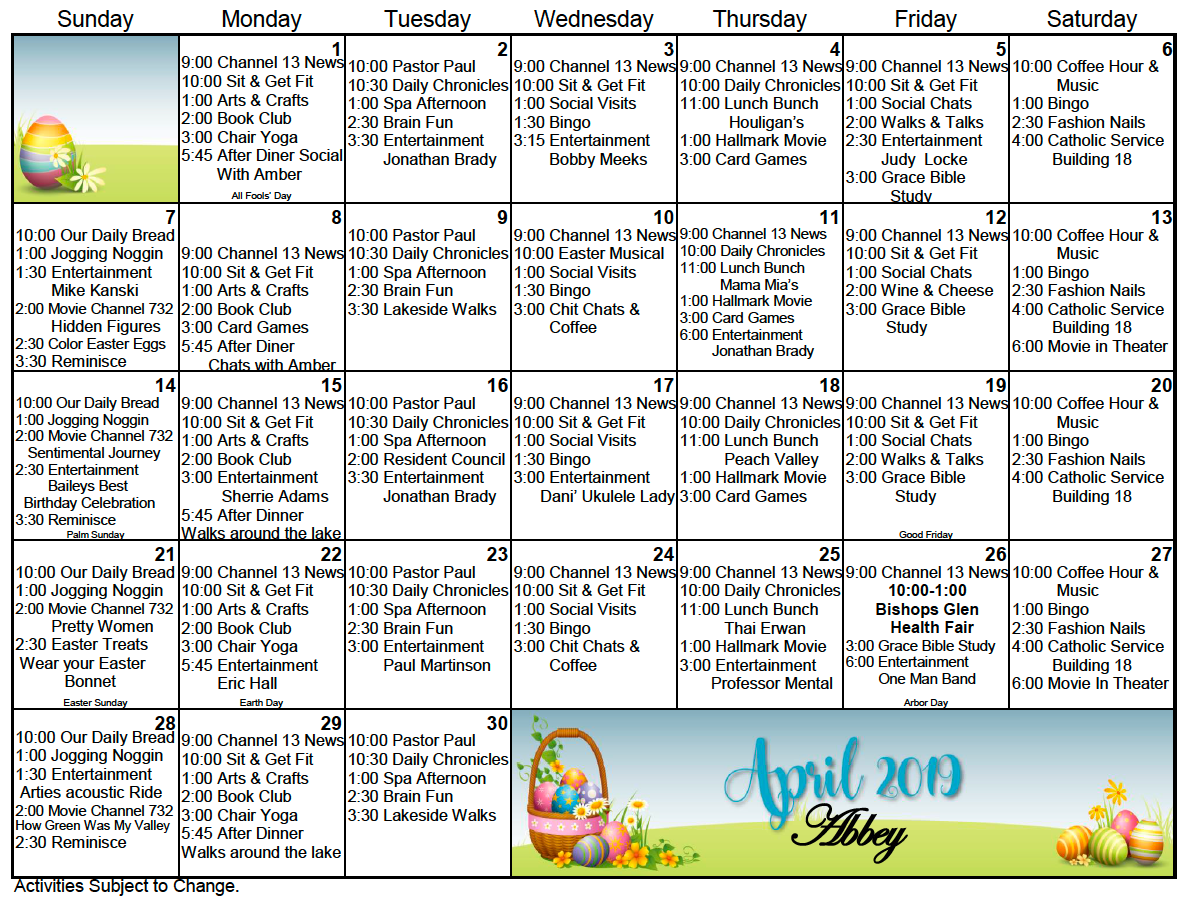 Bishop's Glen Retirement Center Activity Calendar For April For Assisted Living Activities Schedule