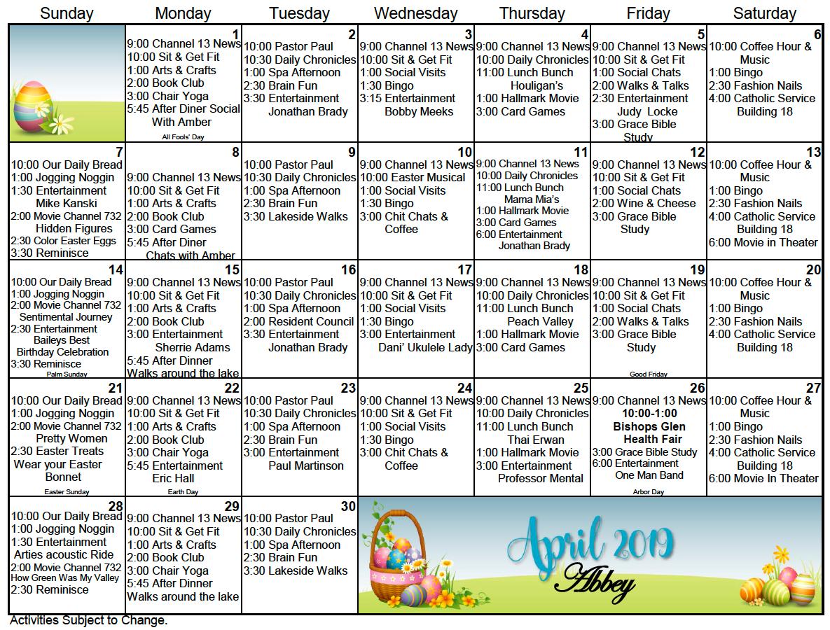 Bishop's Glen Retirement Center Activity Calendar For April For Assisted Living Activity Calendars