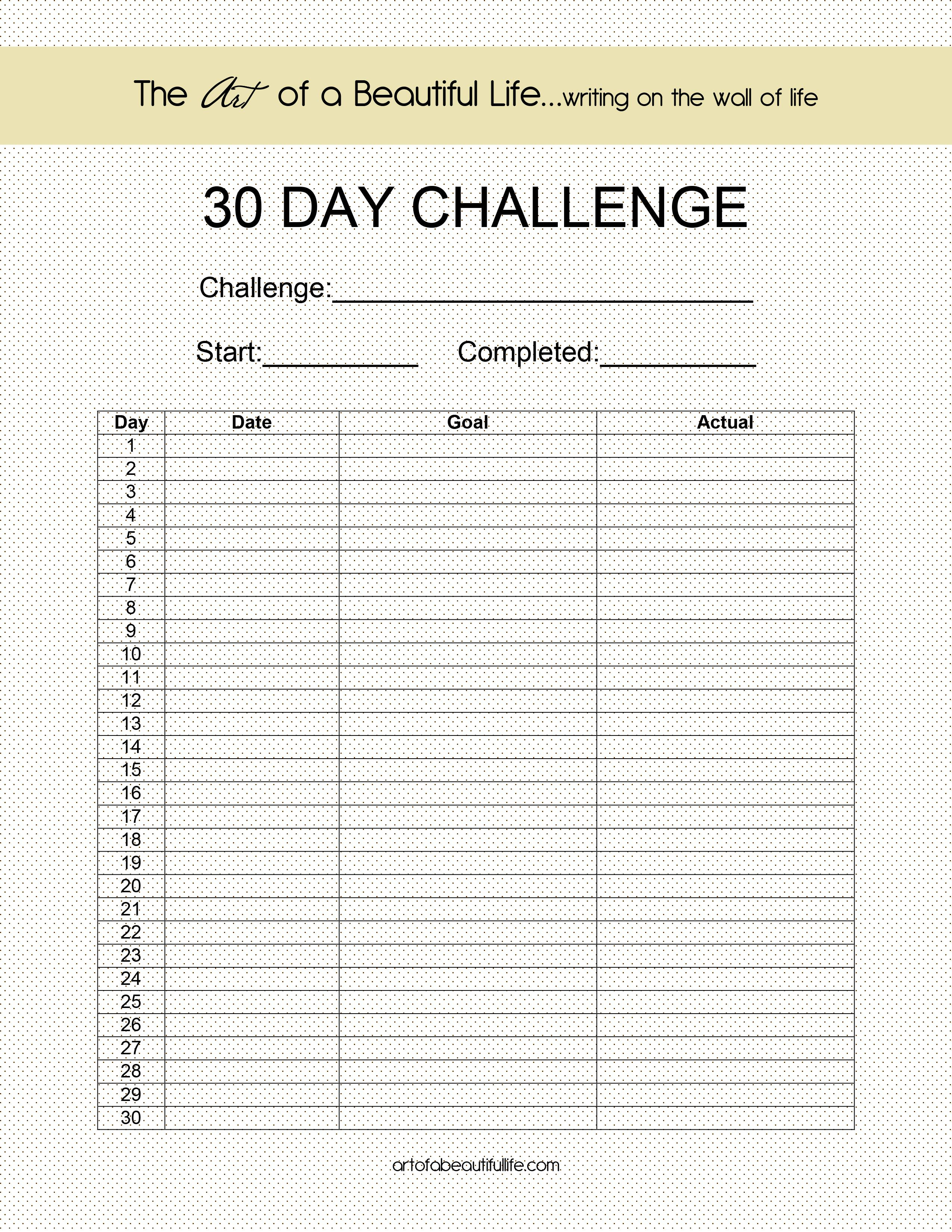 Blank 30 Day Challenge (With Images) | 30 Day Challenge, 30 With Regard To Blank 30 Day Fitness Calendar