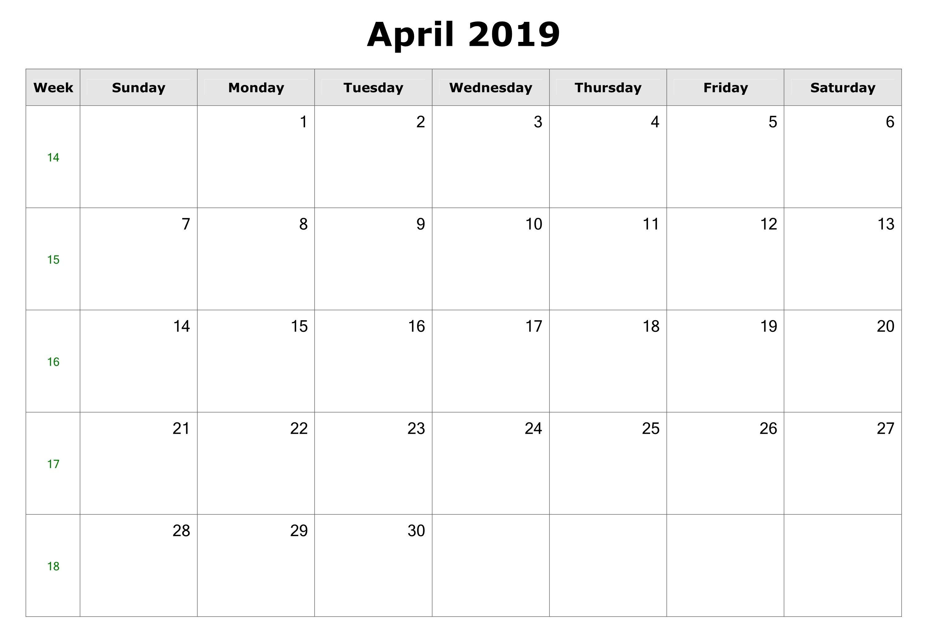 Blank April 2019 Printable Calendar Download | Printable Within Create Your Own Calendar Printable