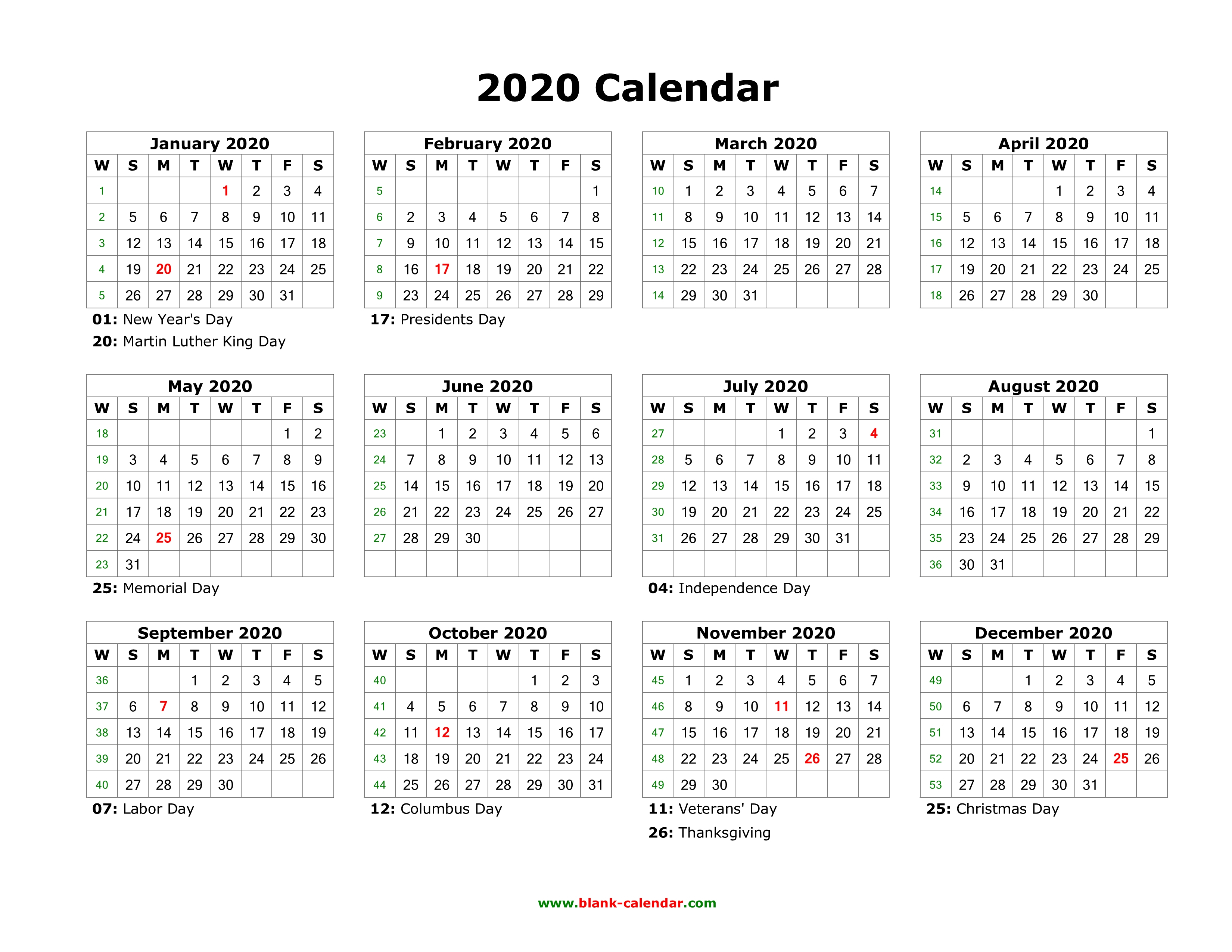 Blank Calendar 2020 | Free Download Calendar Templates Within 12 Mo Calendar Template One Page No Dates