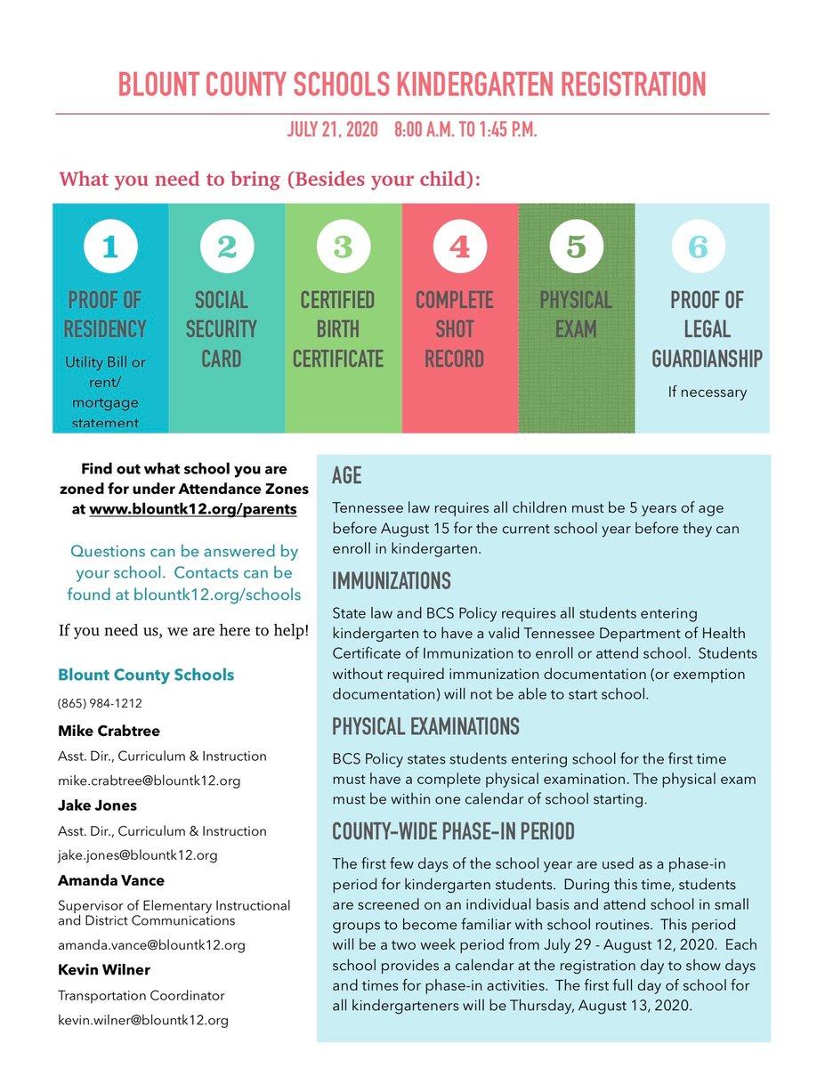 "Blountcountyschools On Twitter: ""kindergarten Registration In Blount County Tn School Calendar"