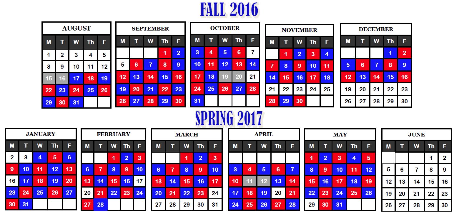 Blue Red Day Calendar Within D20 Colorado Springs Academic Calendar
