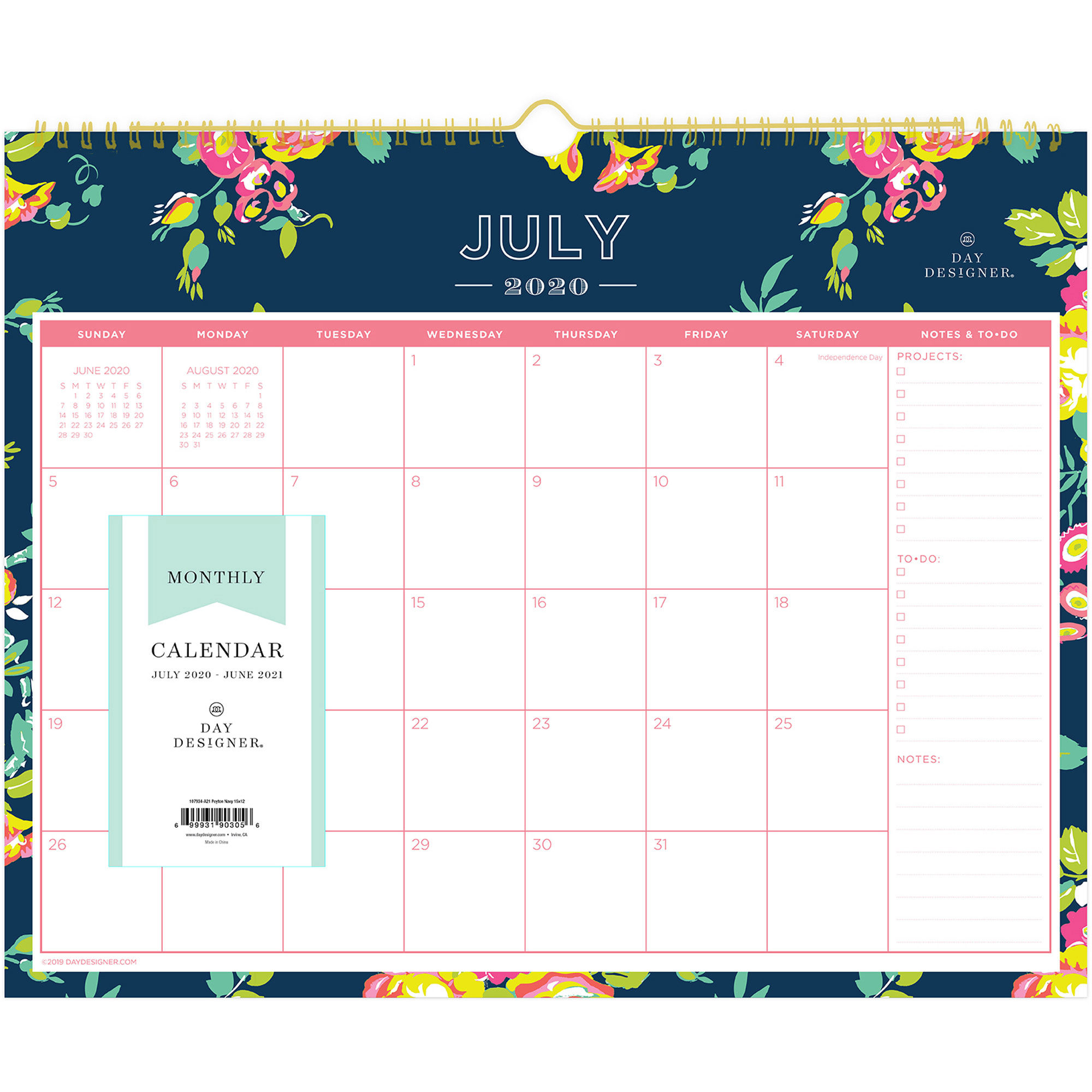 Blue Sky Peyton Navy Floral Wall Calendar – Academic – Yes – Monthly – 1  Year – July 2020 Till June 2021 – Twin Wire – Wall Mountable – Navy, Navy For North Syracuse School Calendar 2021