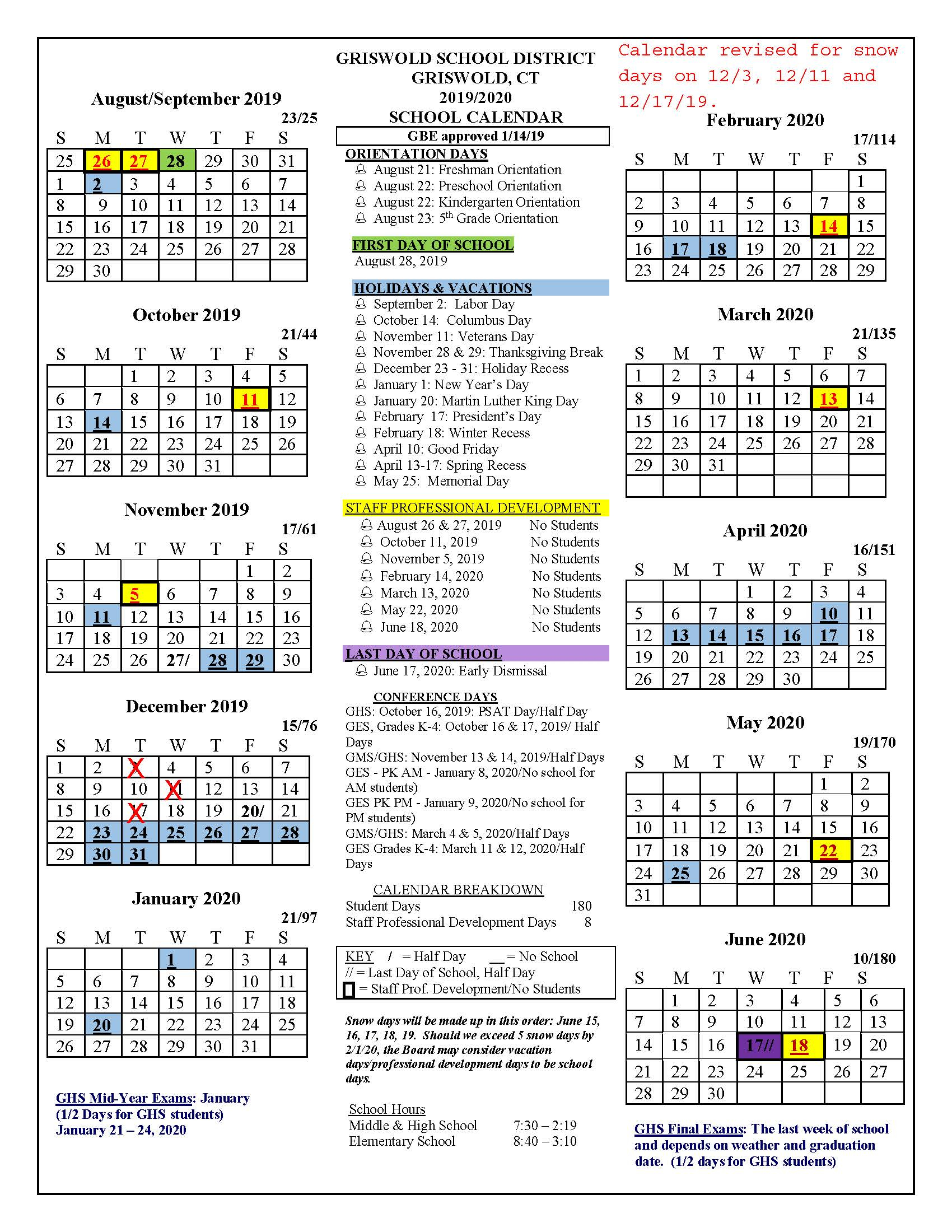Board Approved Academic Calendar - Griswold Public Schools Inside Naugatuck Valley Community College Calendar