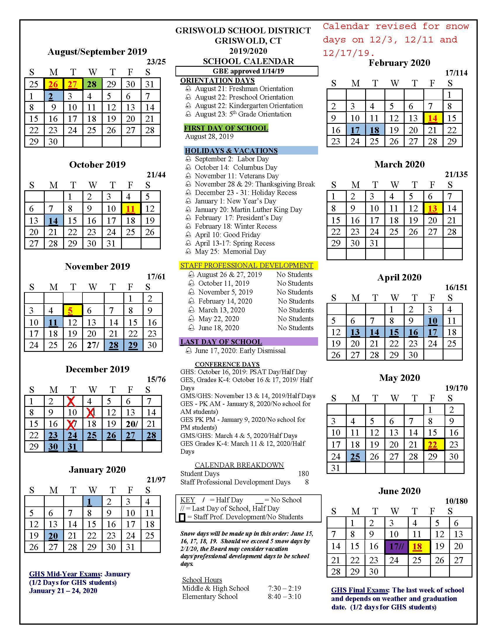 Board Approved Academic Calendar - Griswold Public Schools Inside Univ Of Rhode Island School Calendar