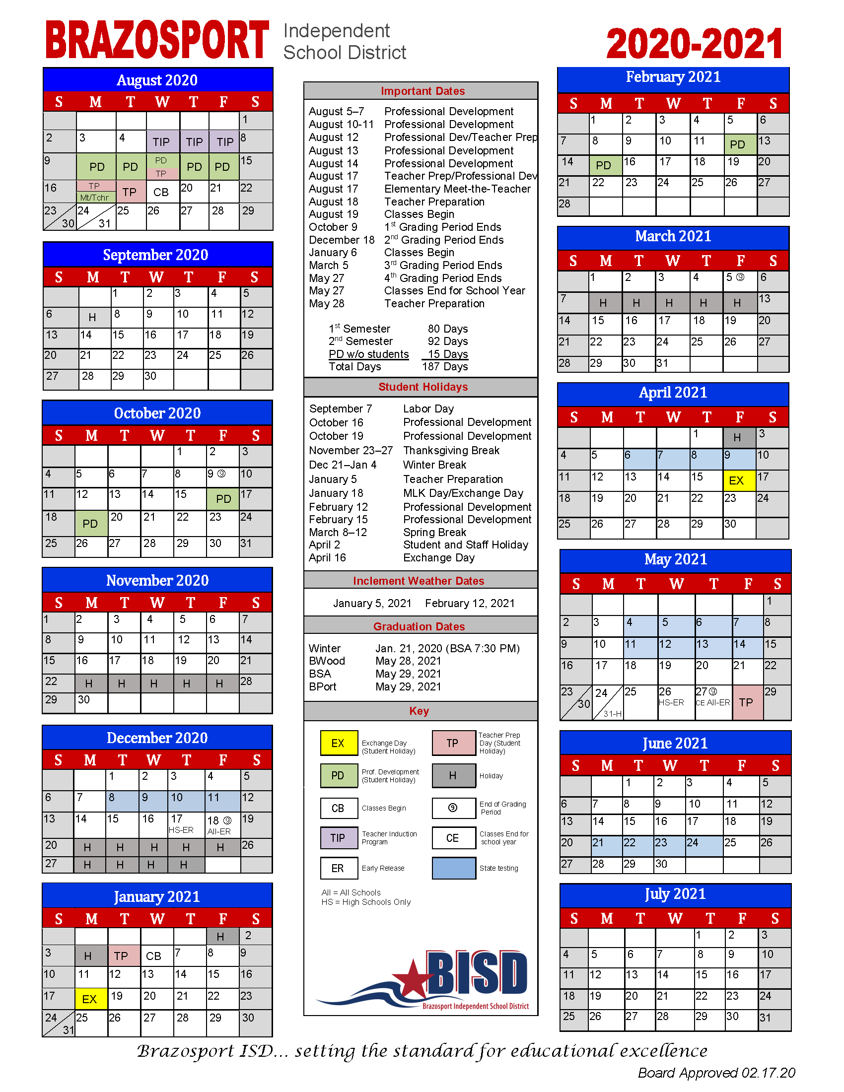 Board Approves 2020 2021 School Calendar - Brazosport Intended For Brownsville Independent School District Calendar