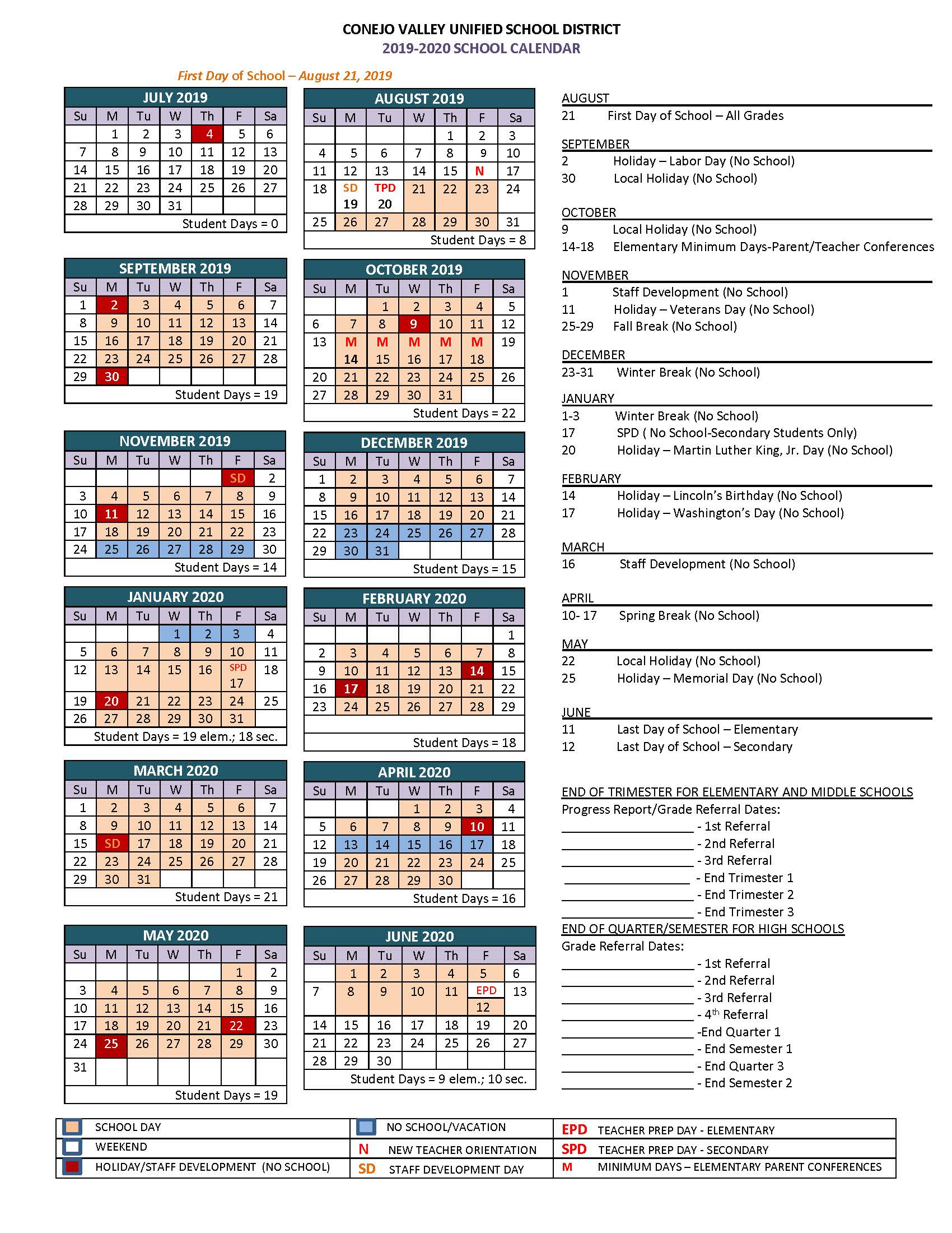 Board Of Education Approves The 2019 2020 Cvusd School Year Throughout Board Of Education Calendar
