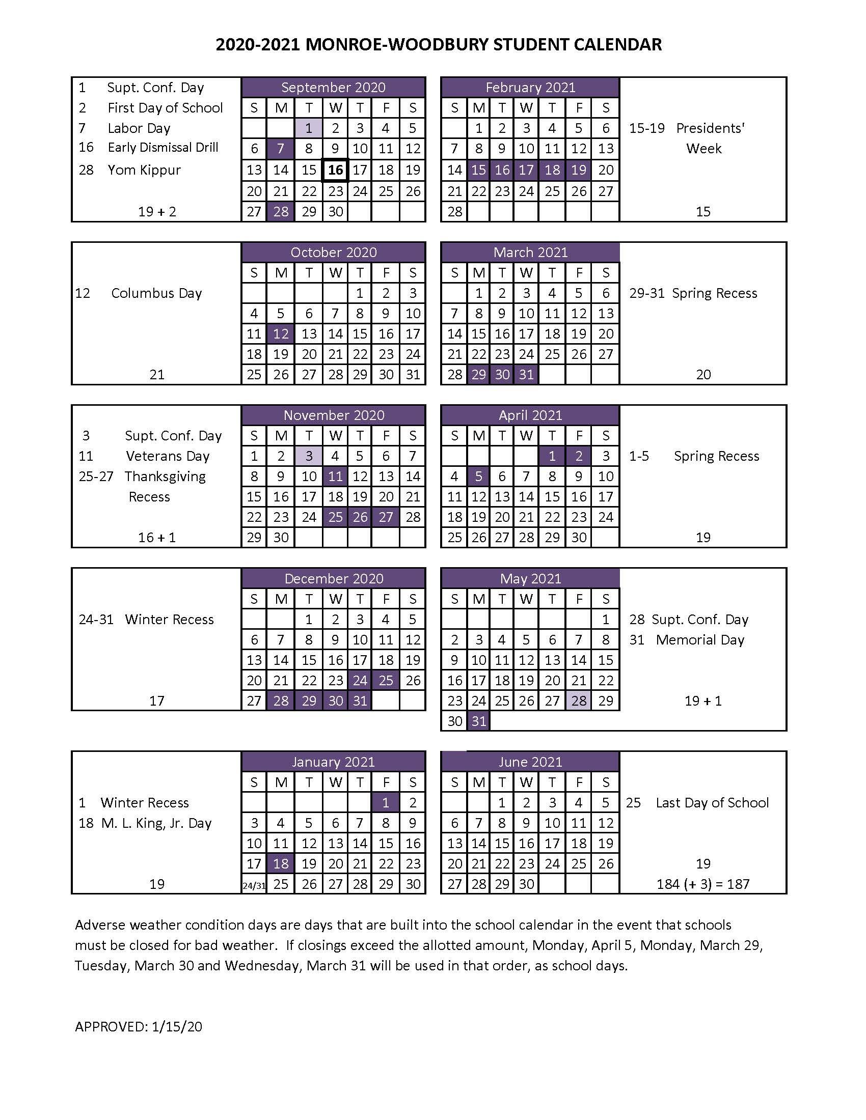 Boe Adopts 2020 2021 Student Calendar – Monroe Woodbury Inside Albany City School District Calendar 2021