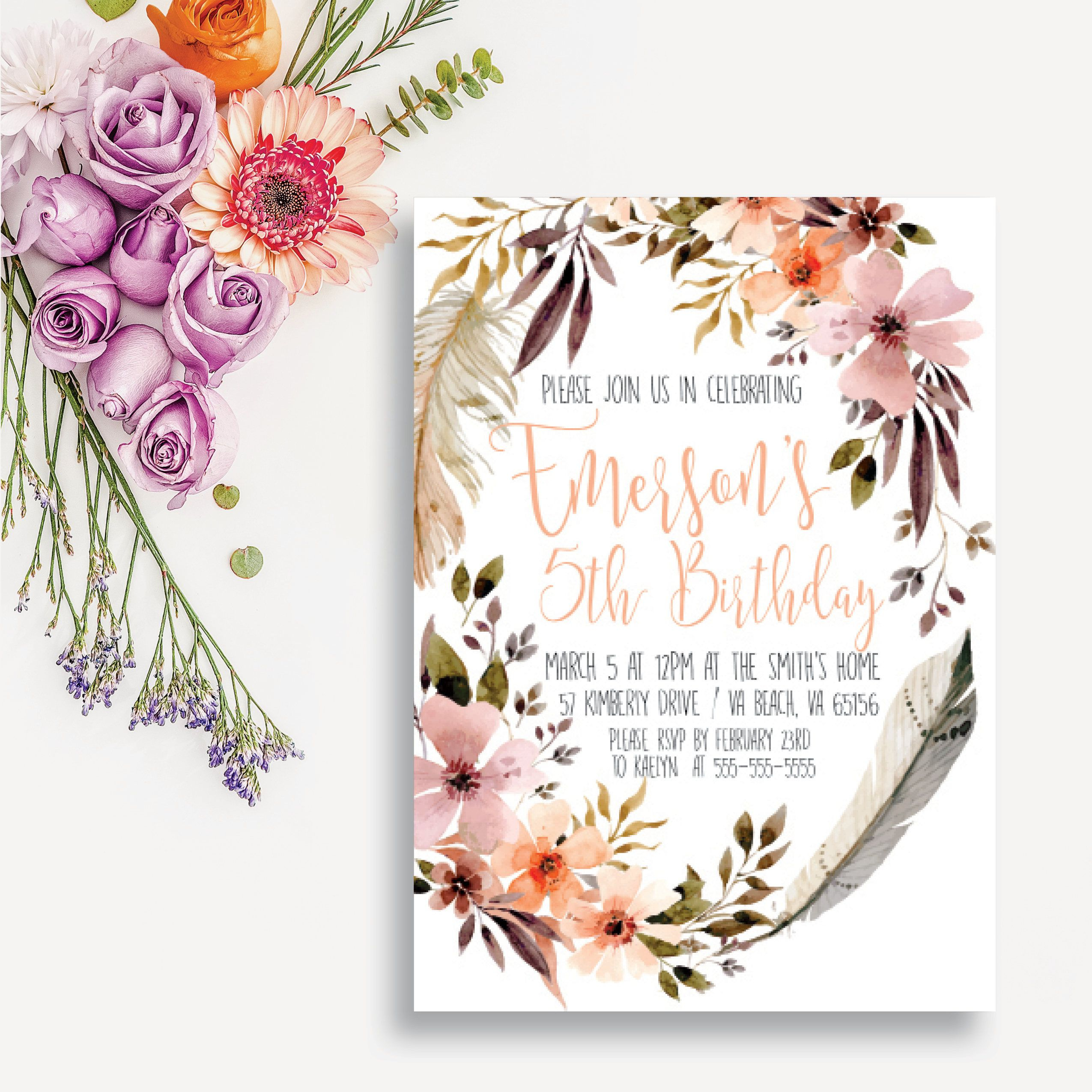 Bohemian Birthday Invitation Boho Chic Birthday Card Girl Intended For Printable A Day Bday Schedule Virginia Beach