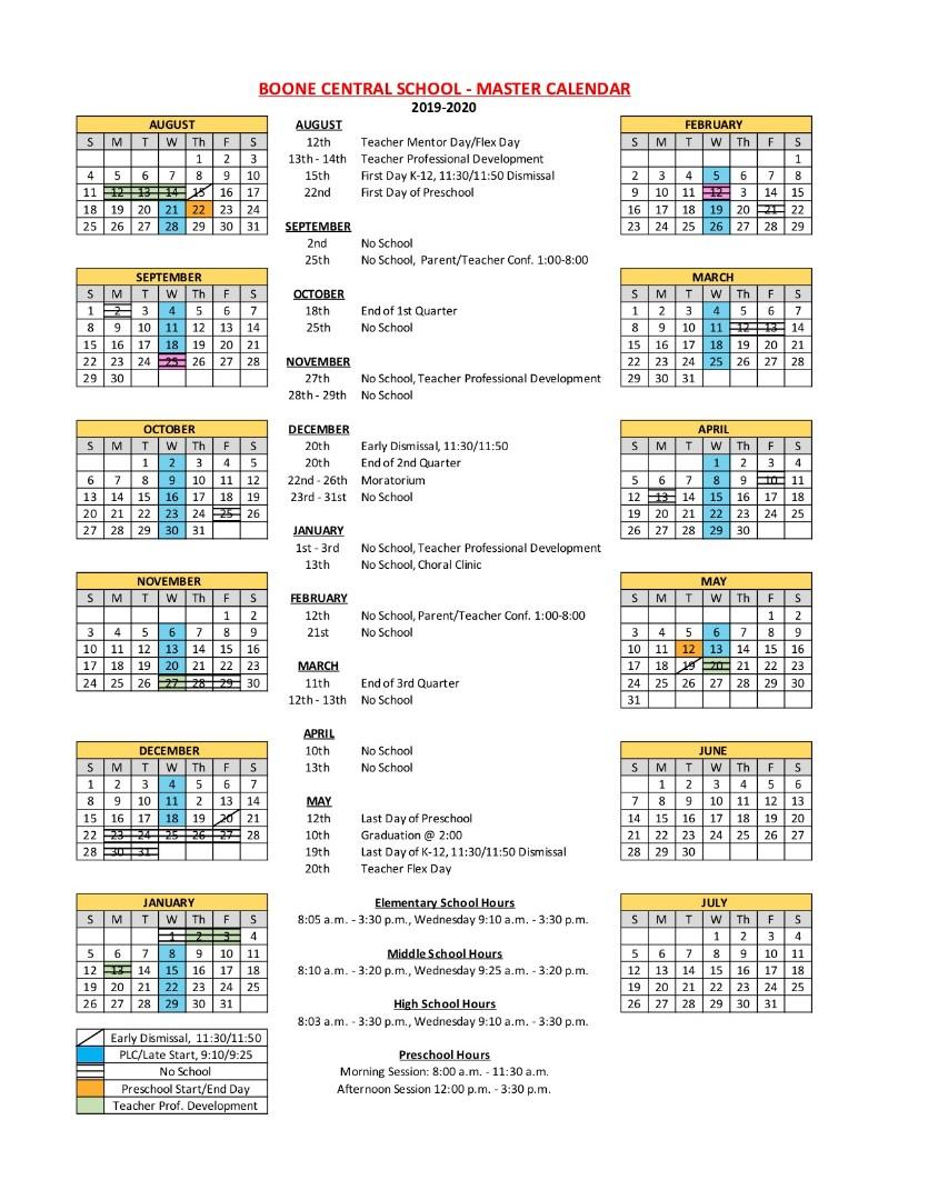 Boone Central Schools – 2019 2020 District Calendar Inside Santa Teresa High School Calendar 2021