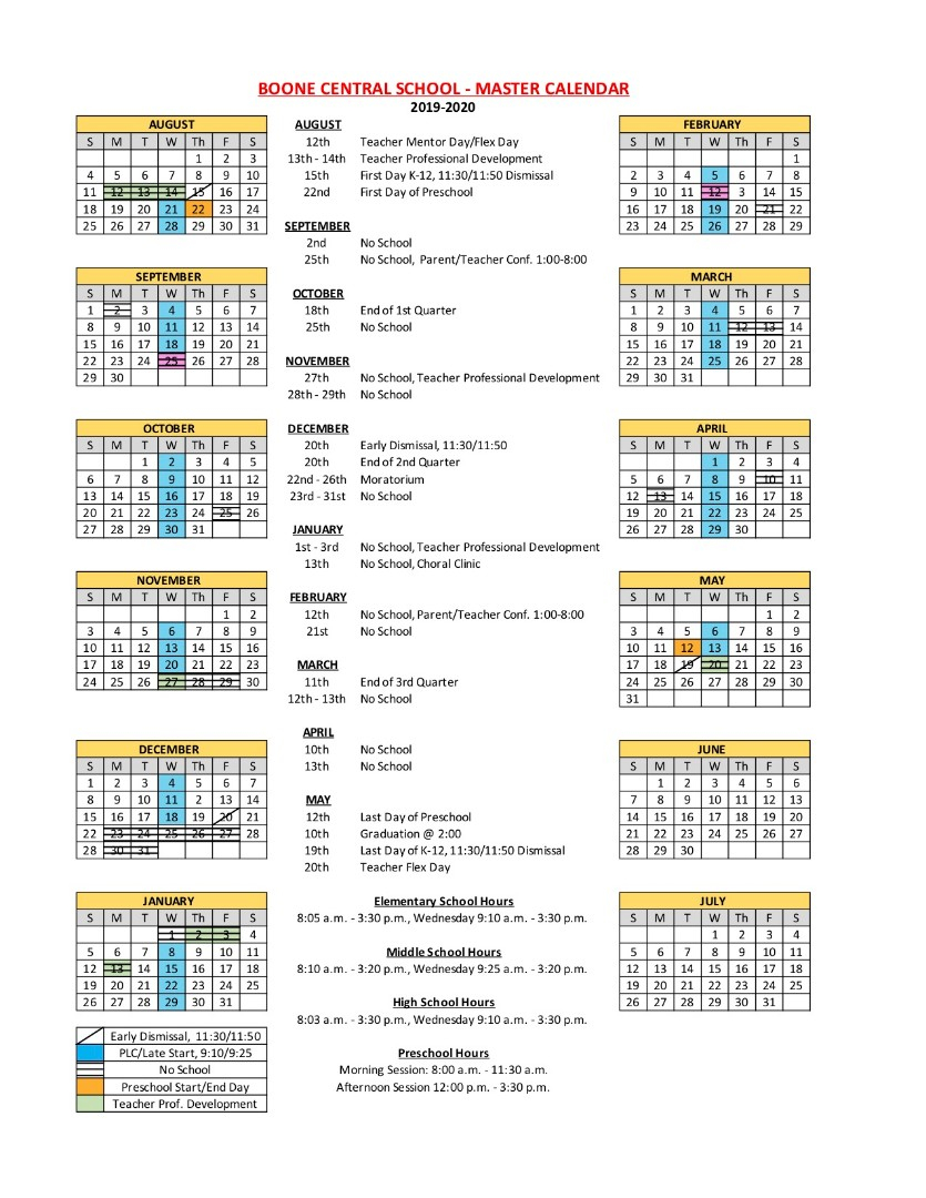 Boone Central Schools - 2019 2020 District Calendar Intended For Johnston County Public School Calendar