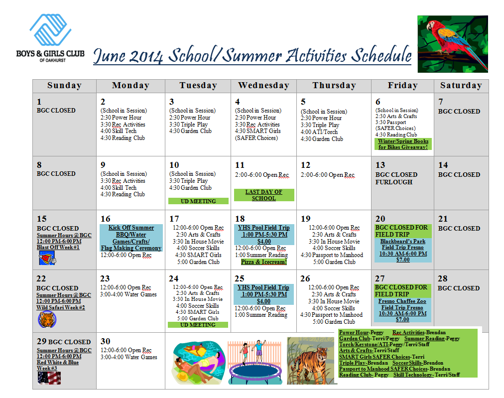 Boys And Girls Club Summer Schedule | Sierra News Online With Regard To Boys And Girls Club Calender For Meetingd