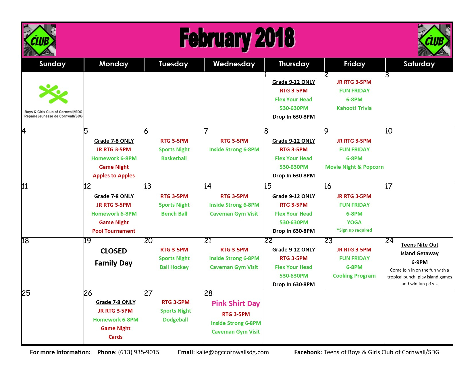 Boys And Girls Club Youth Program Calendar | Intended For Boys And Girls Club Program Program Calendar