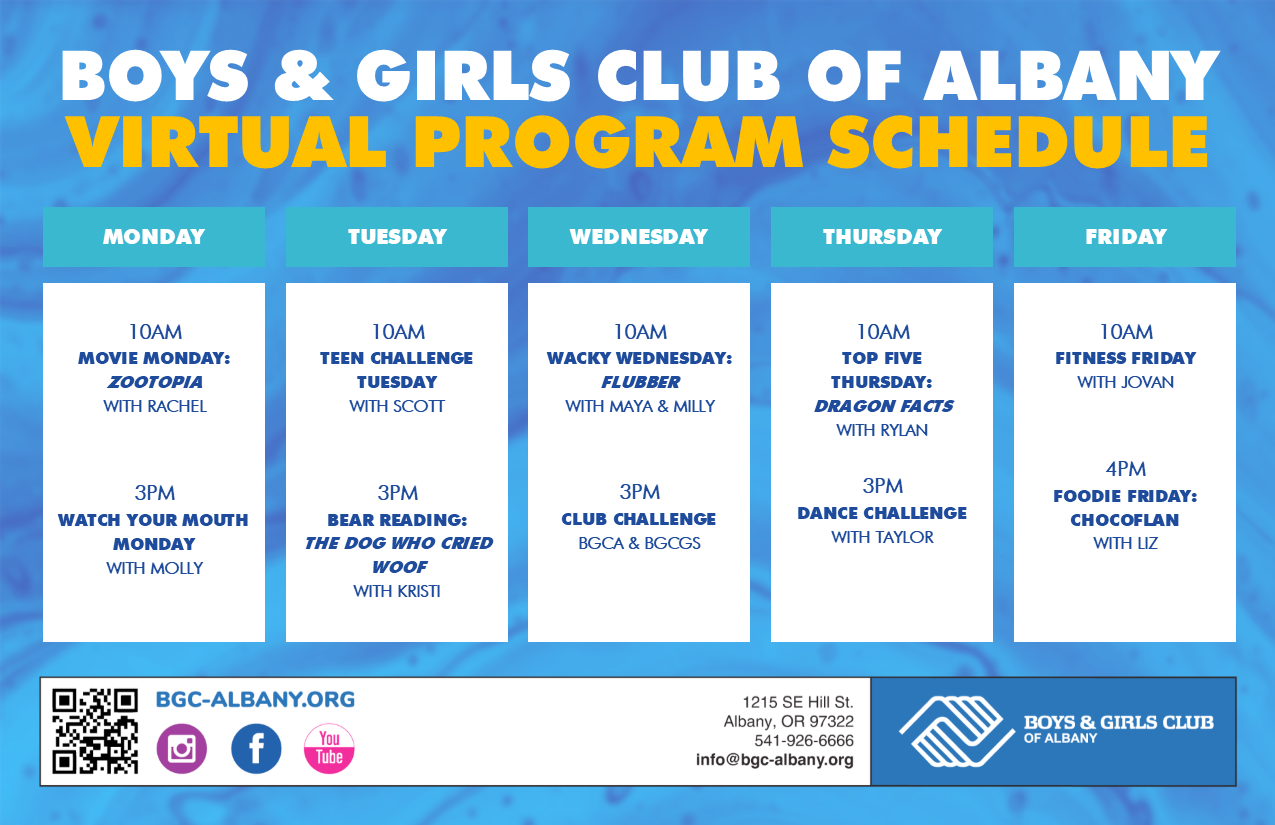 Boys & Girls Club Of Albany – Great Futures Start Here In Boys And Girls Club Program Program Calendar