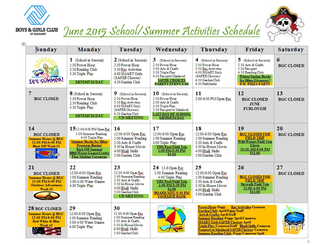 Boys & Girls Club Programs Set For Summer | Sierra News Online Pertaining To Boys And Girls Club Program Program Calendar
