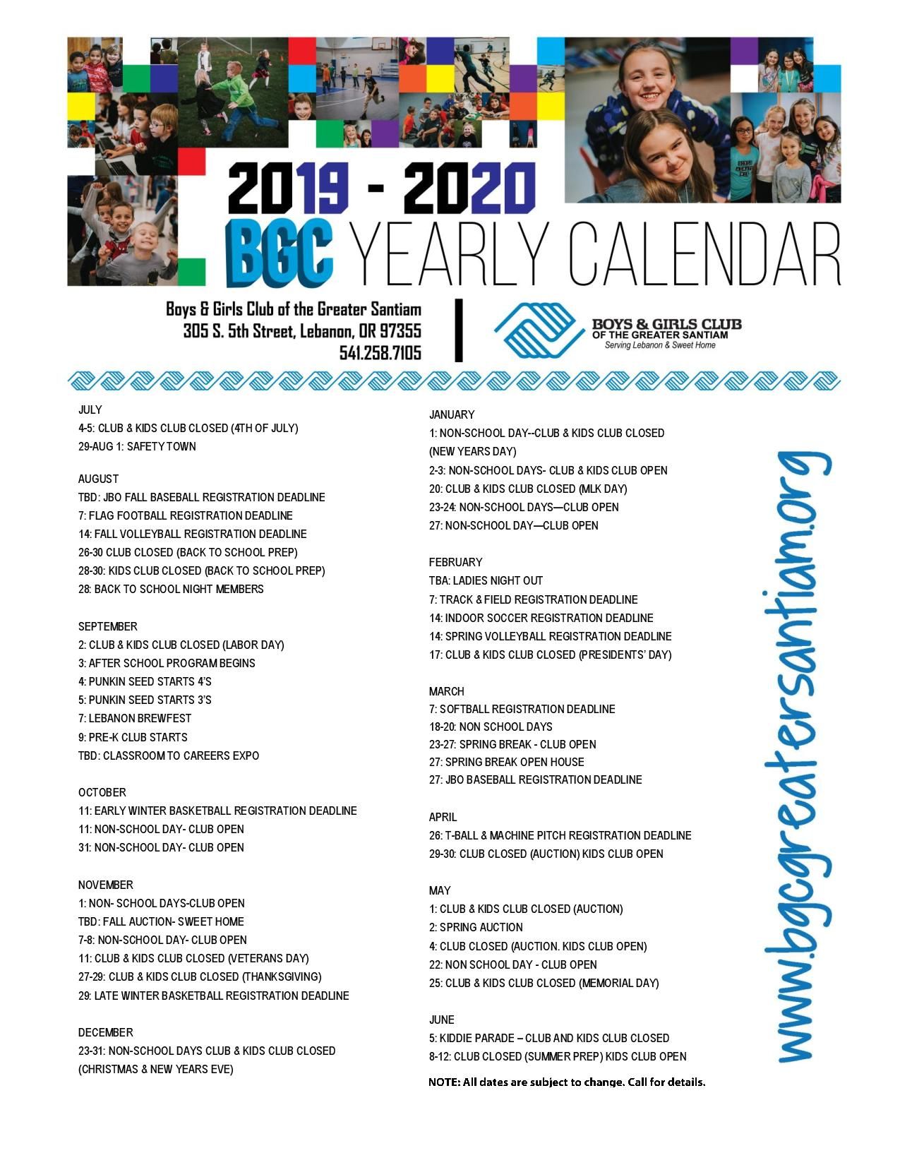 Boys & Girls Clubs Of The Greater Santiam : What We Do For Boys And Girls Club Program Program Calendar