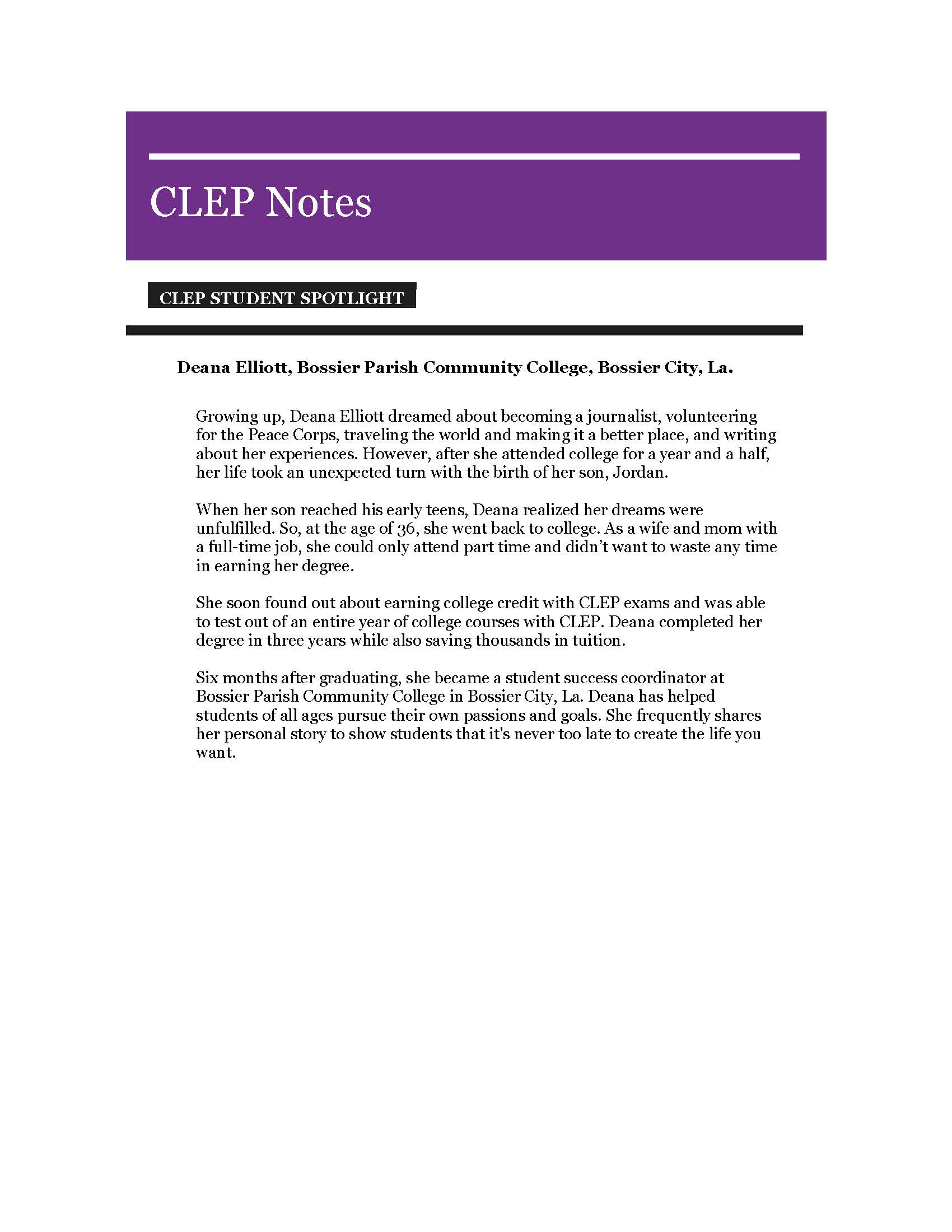 Bpcc Graduate Featured In May 2019 Clep® Notes Newsletter Within Bossier Parrish School Calendar