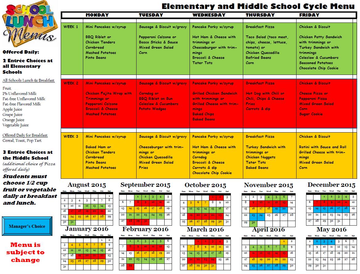 Breakfast & Lunch Menus – Clay County Public Schools Intended For Clay County Fl School Calendar