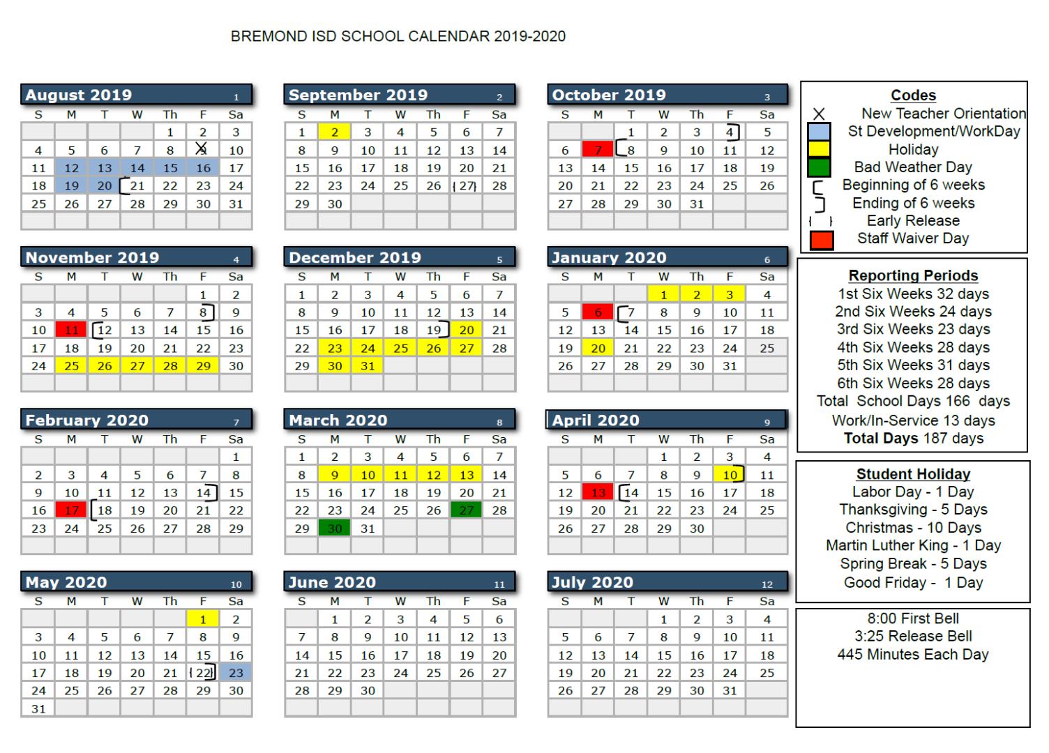 Bremond Isd – 2019 2020 Bisd School Calendar Regarding Santa Teresa High School Calendar 2021