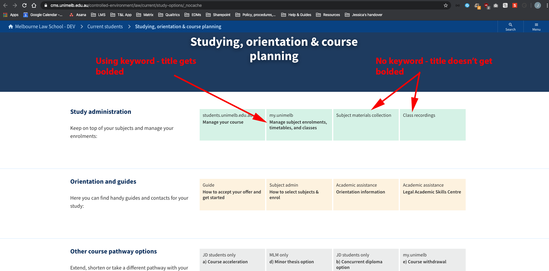 Bug] Page Listing Titles Inconsistent Use Of <Strong For Unimelb Academic Calendar