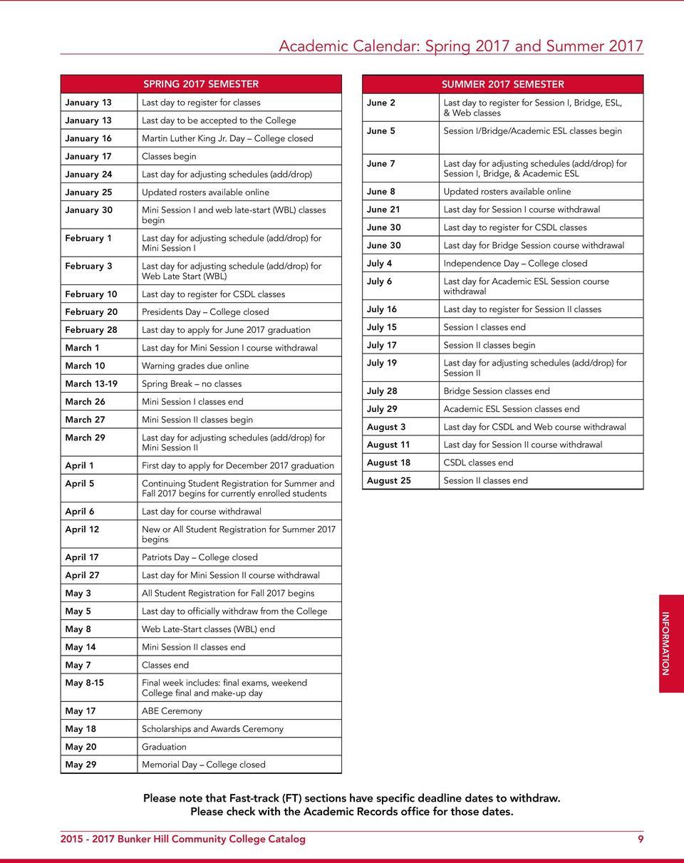 Bunker Hill Community College Catalog. For The Latest Throughout Bunker Hill Community College Academic Calendar