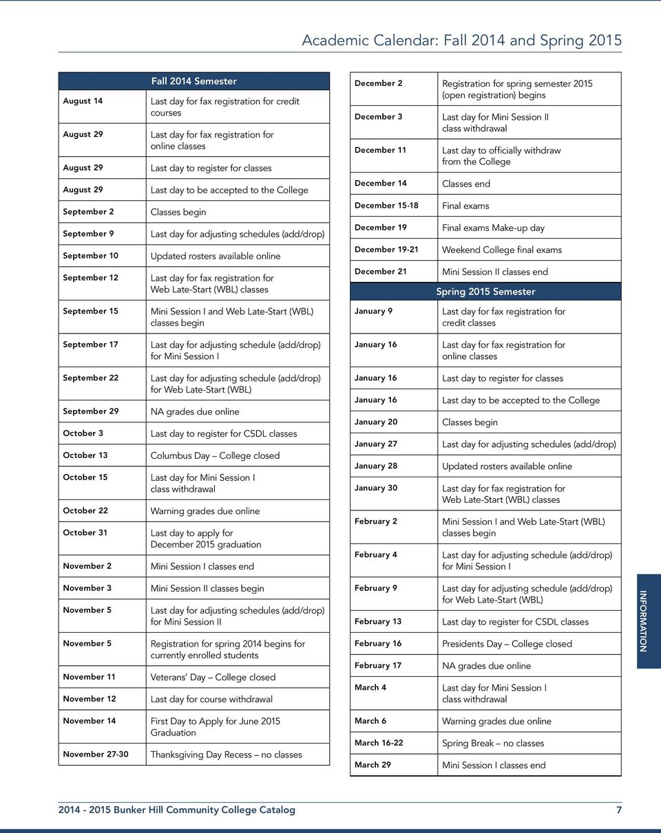Bunker Hill Community College Catalog. For The Latest With Bunker Hill Community College Academic Calendar