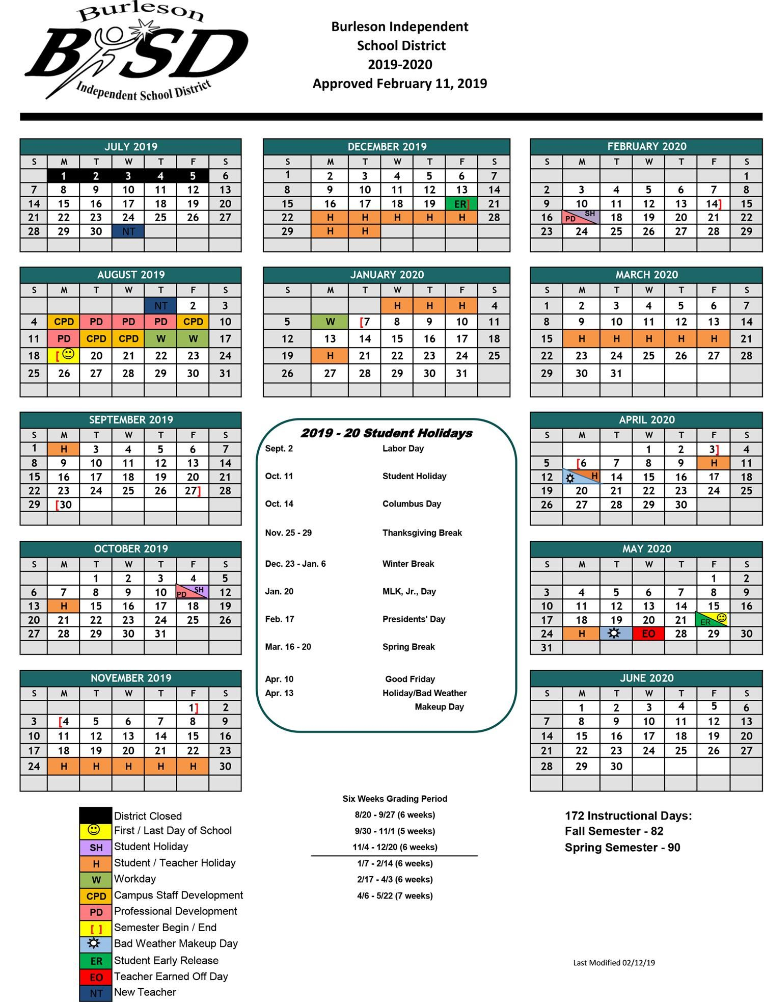Burleson Isd Student Calendar For 2019 20 School Year Approved Within Brownsville Isd Calendar 2021