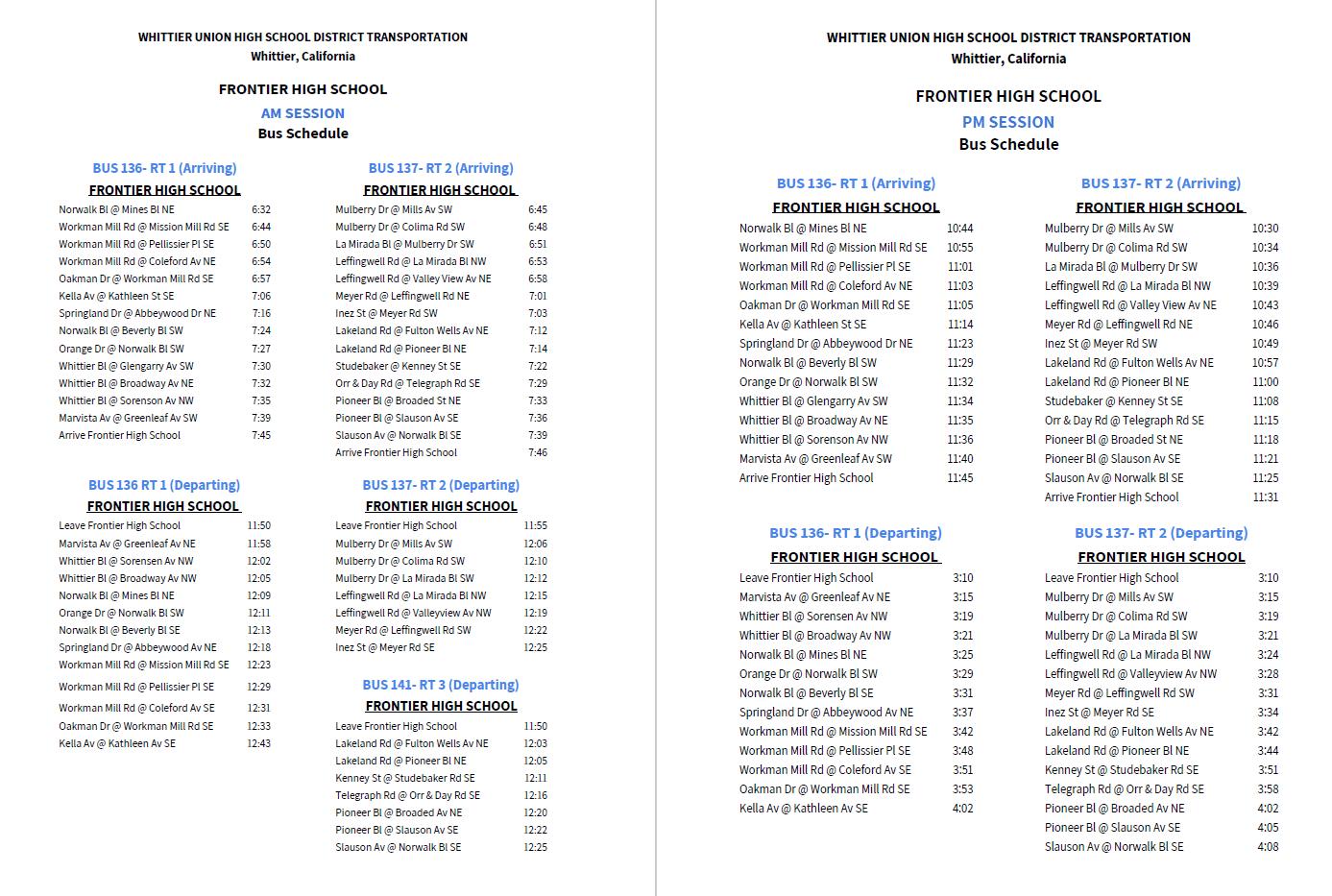 Bus Schedule – Our School – Frontier High School Throughout La Serna School Year Calendar