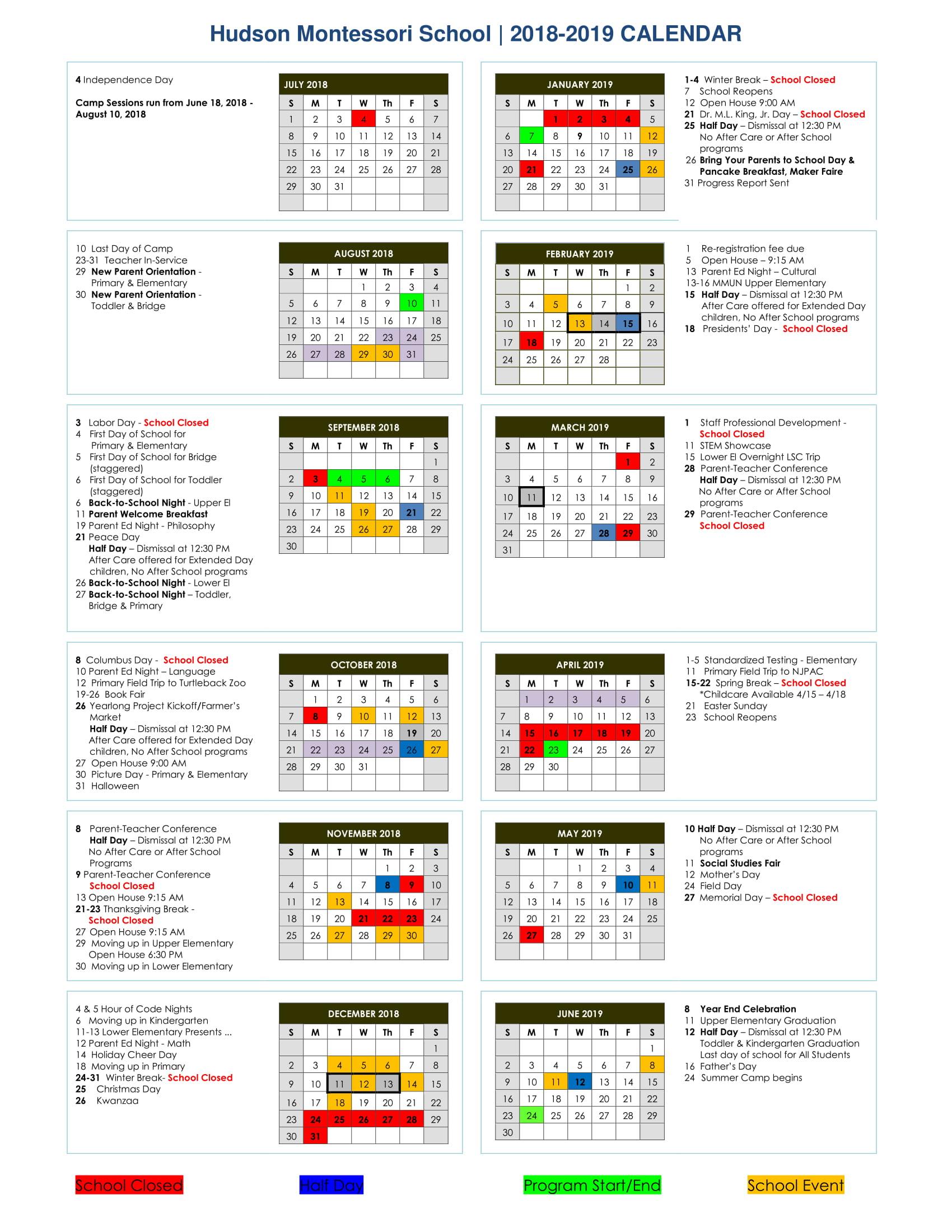 Calendar 2018 2019 | With Regard To Woodbridge Township School Calendar