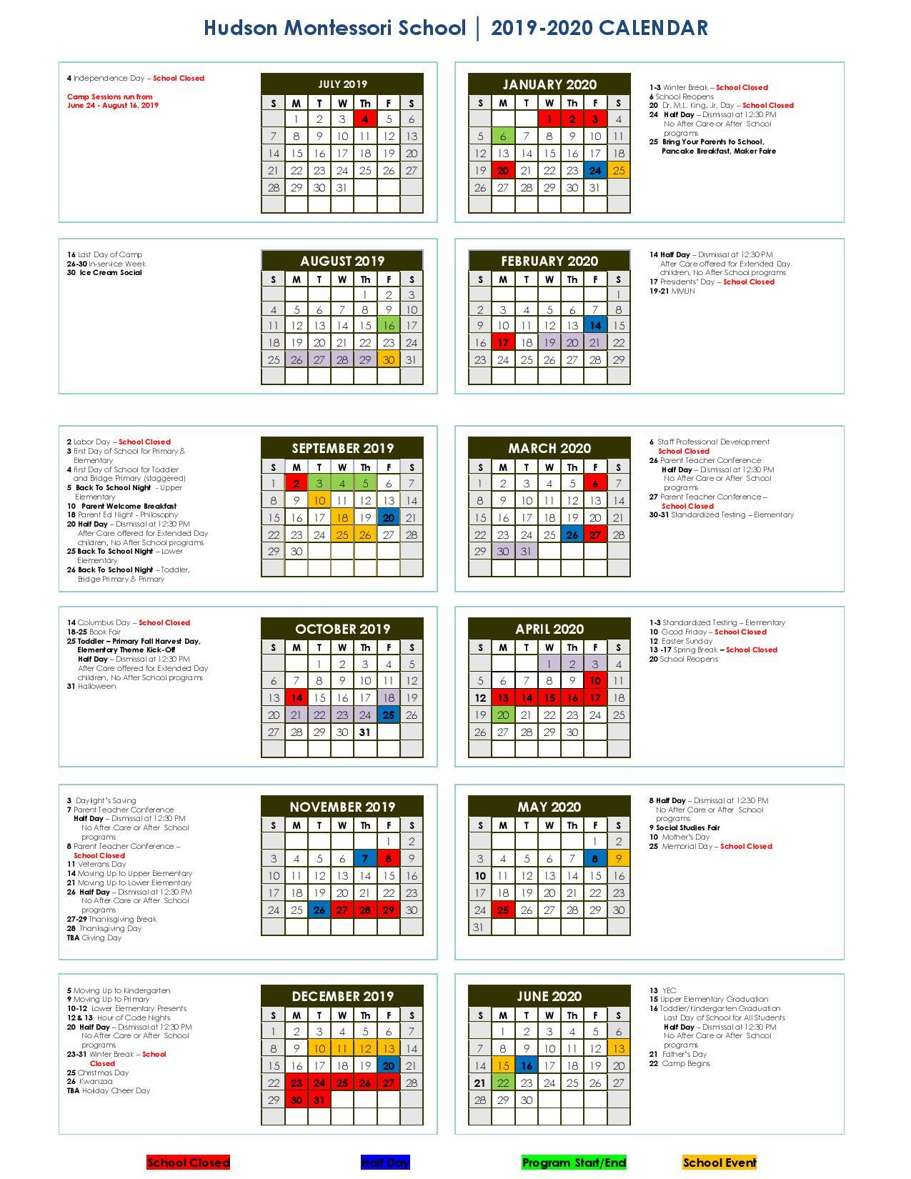 Calendar 2019 2020 | For New Canaan School Calendar