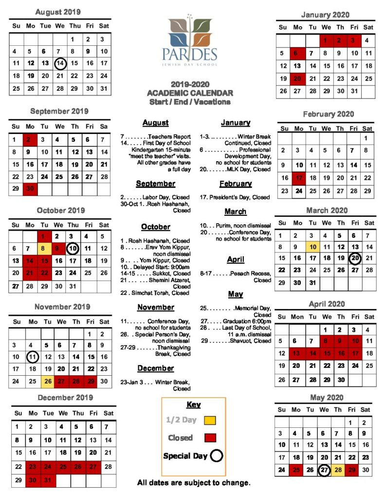 Calendar 2019 2020 – Pardes Jewish Day School Within 2020 Gcu Academic Calendar