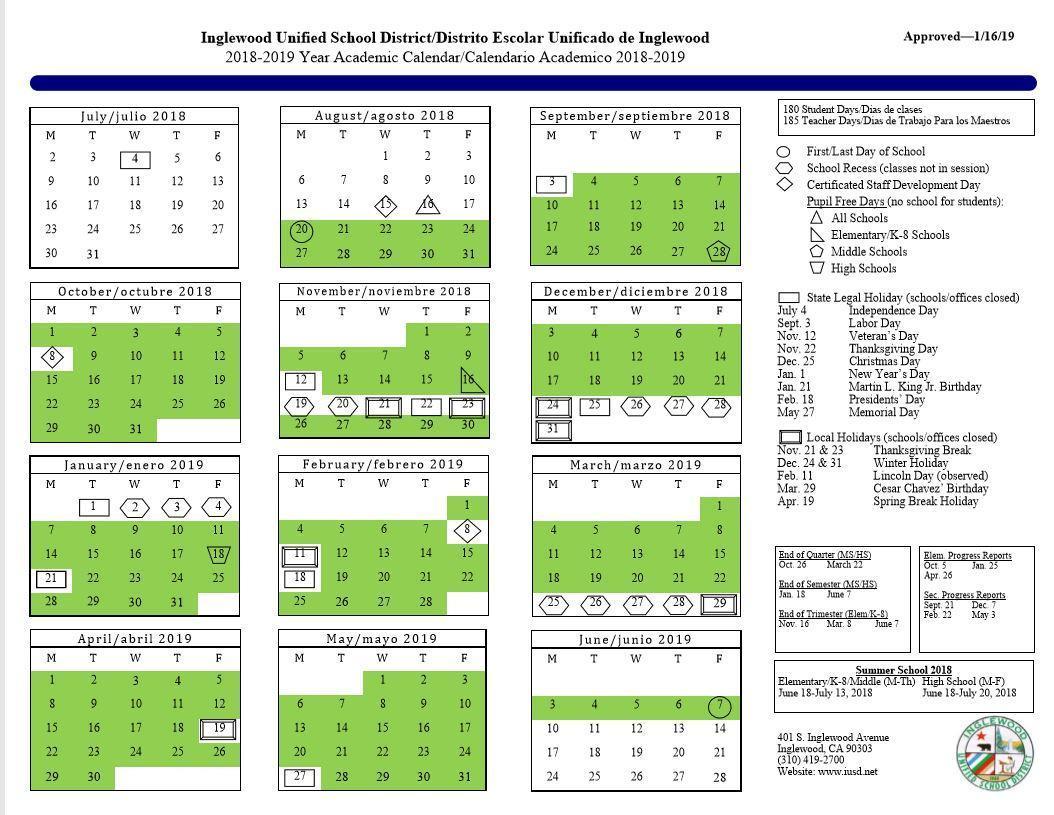 Calendar – About Us – Inglewood Unified School District In Oxnard High School Calendar 2021